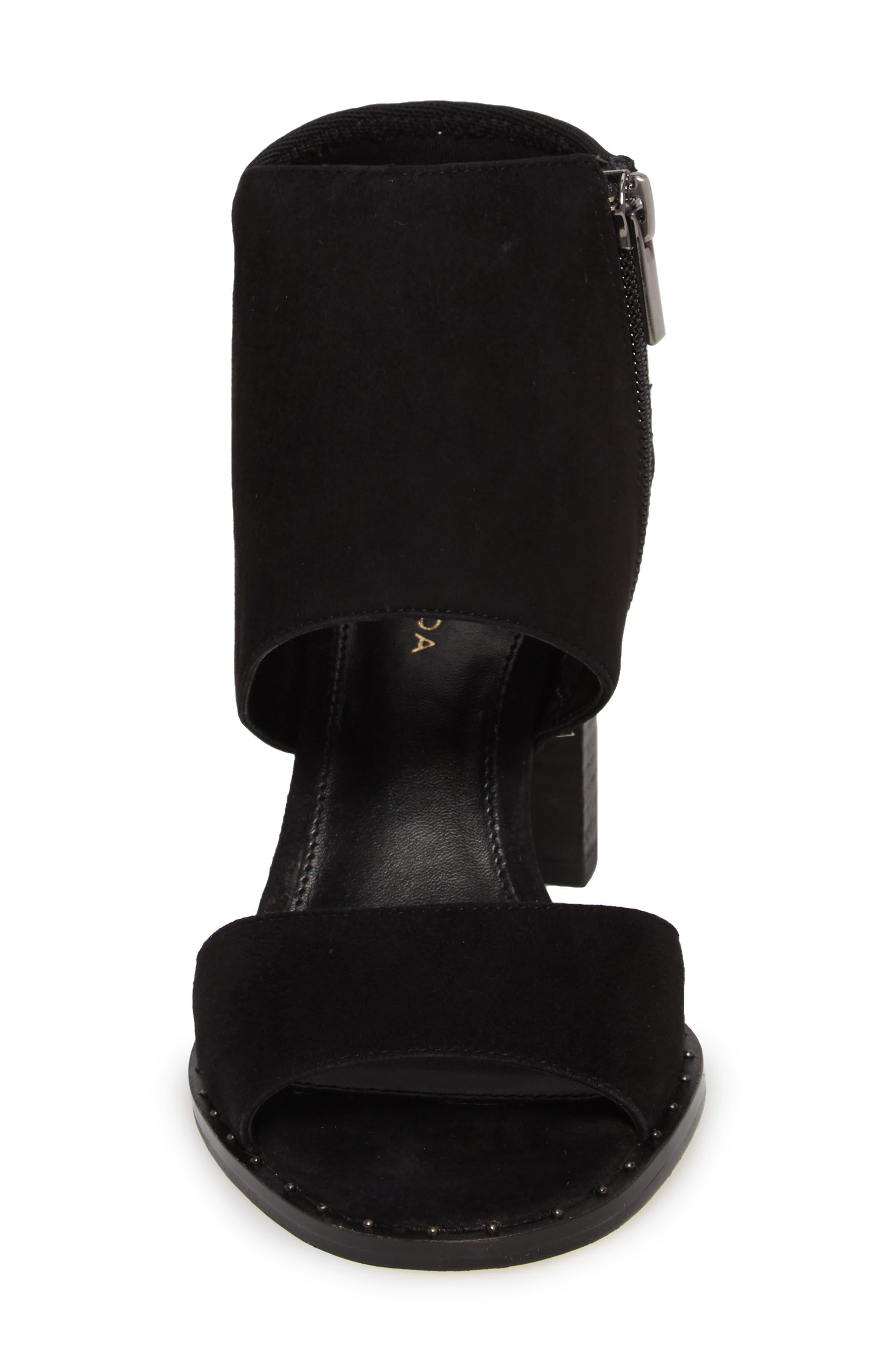 Grey Sandal,                             Alternate thumbnail 4, color,                             BLACK SUEDE