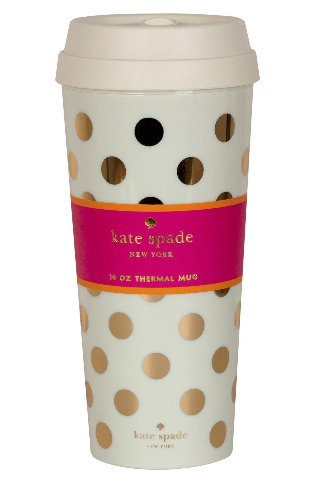 KATE SPADE NEW YORK dot thermal travel mug, Main, color, 900