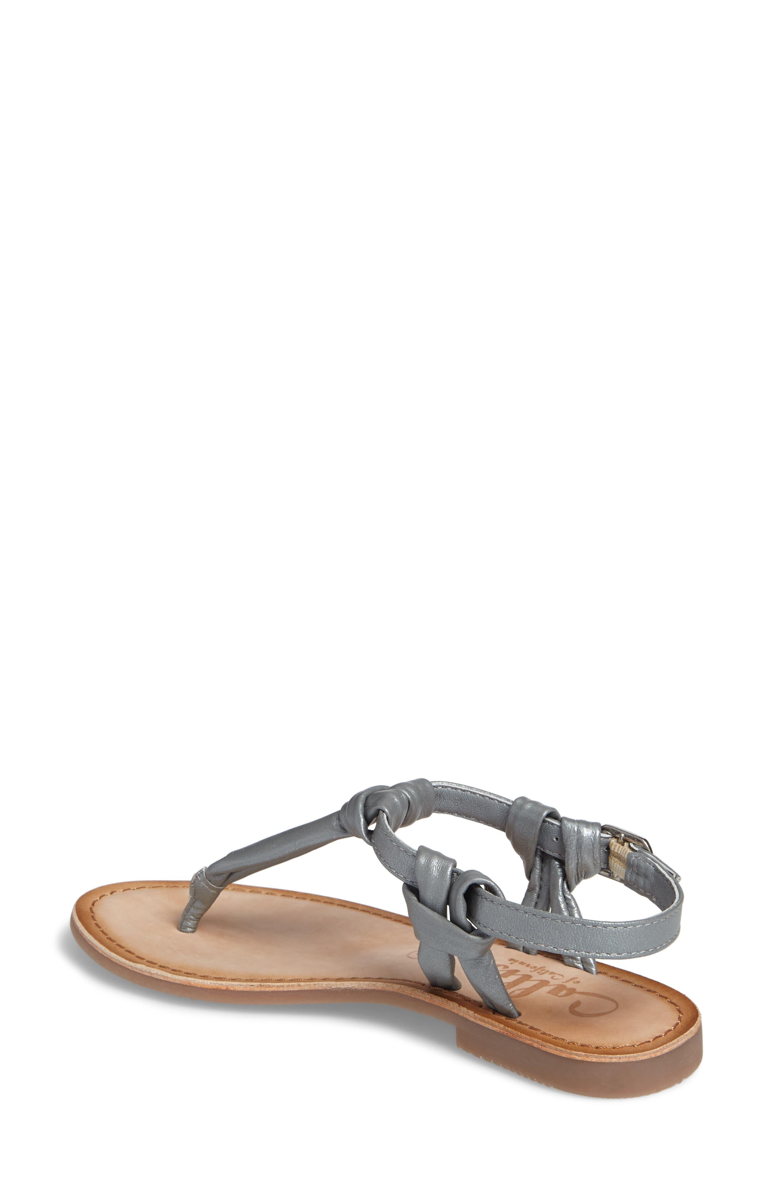 Azza T-Strap Sandal,                             Alternate thumbnail 2, color,                             PEWTER LEATHER
