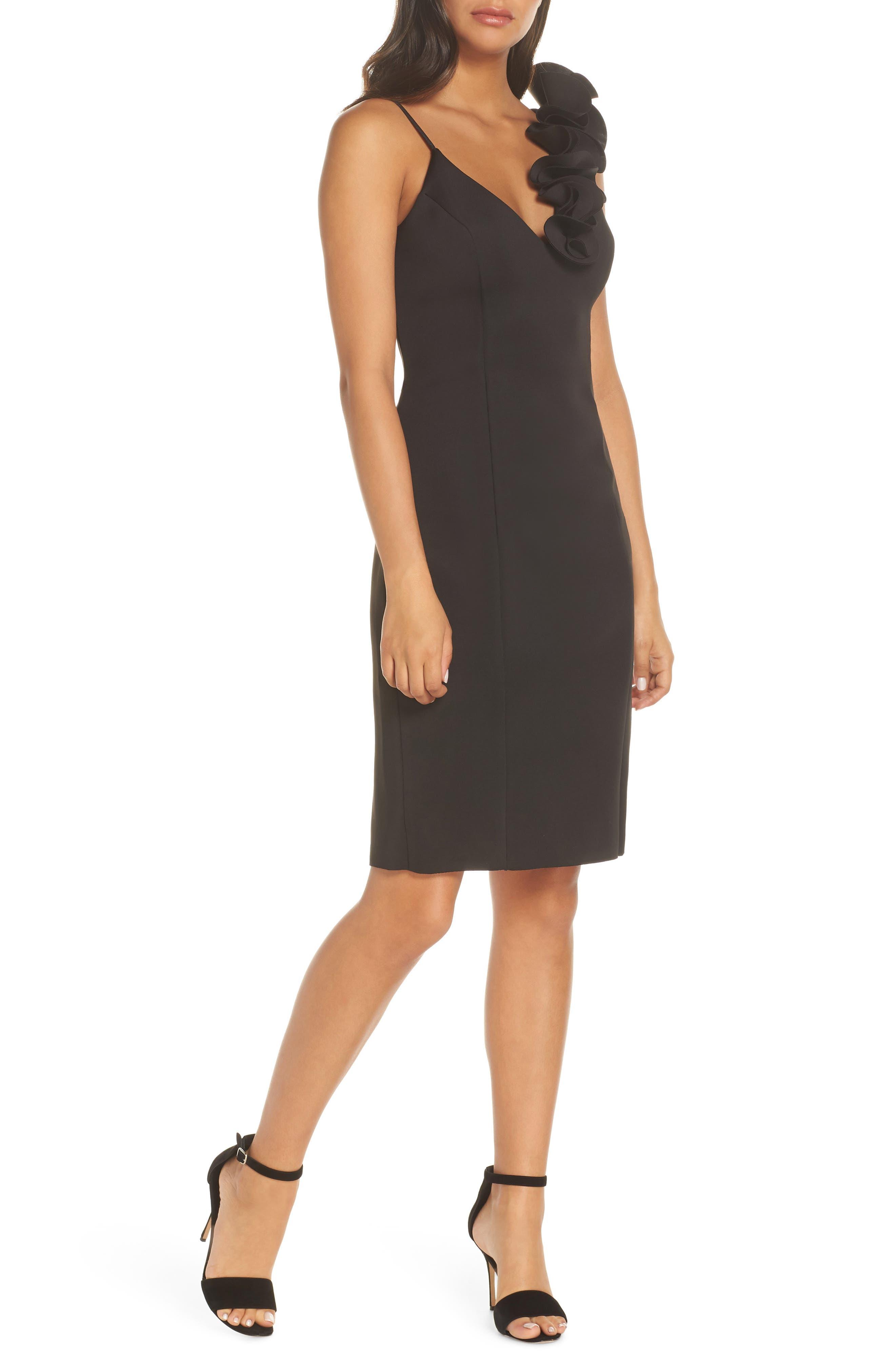 Eliza J Ruffle Shoulder Scuba Crepe Dress, Black
