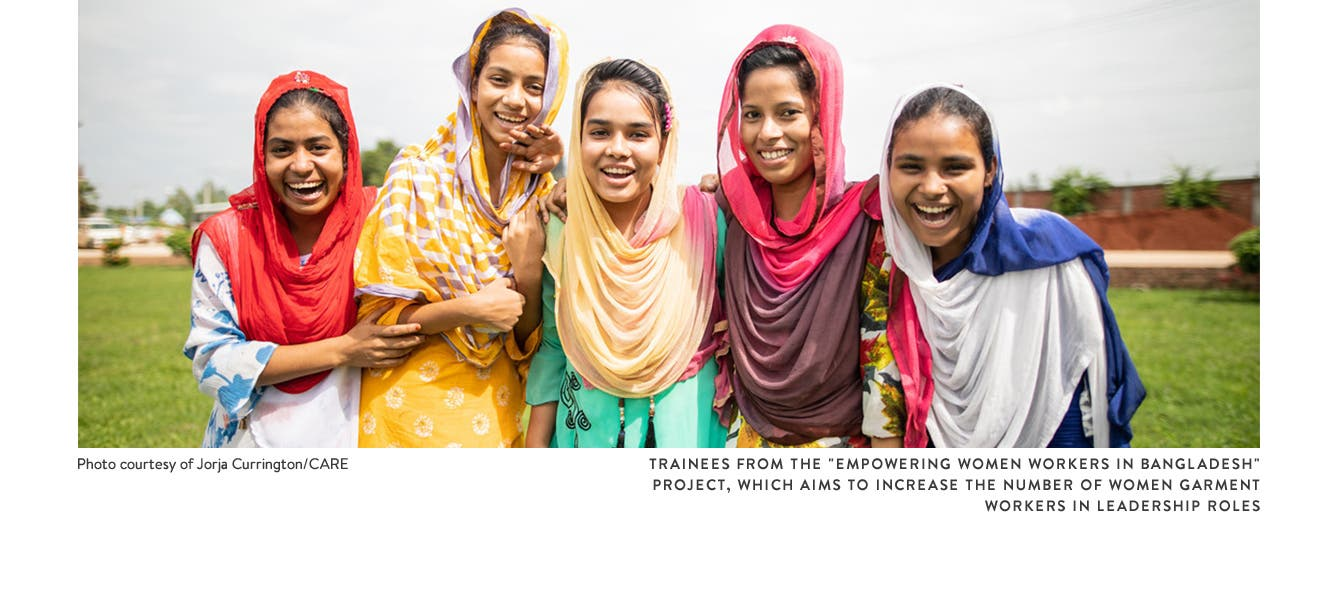 "Trainees from the ""Empowering Women Workers in Bangladesh"" project, which aims to increase the number of women garment workers in leadership roles"