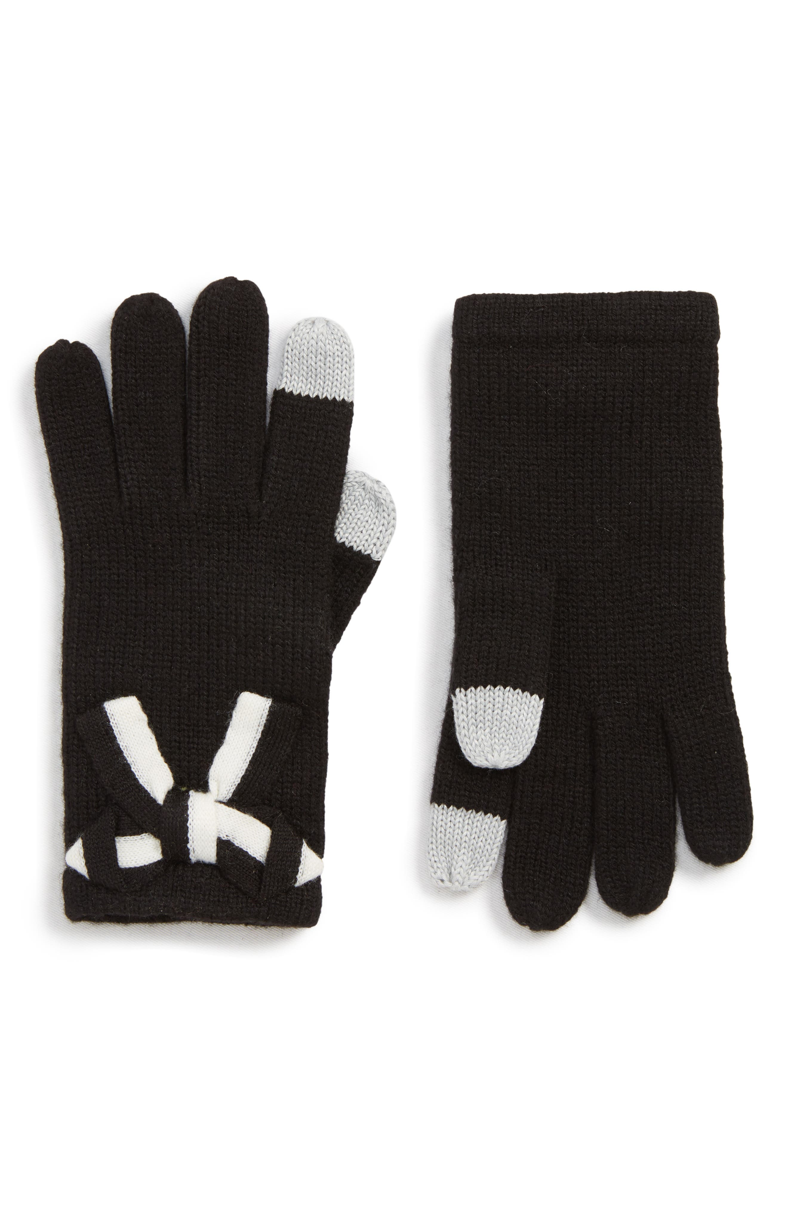 bow appliqué gloves,                             Main thumbnail 1, color,                             BLACK/ CREAM BOW