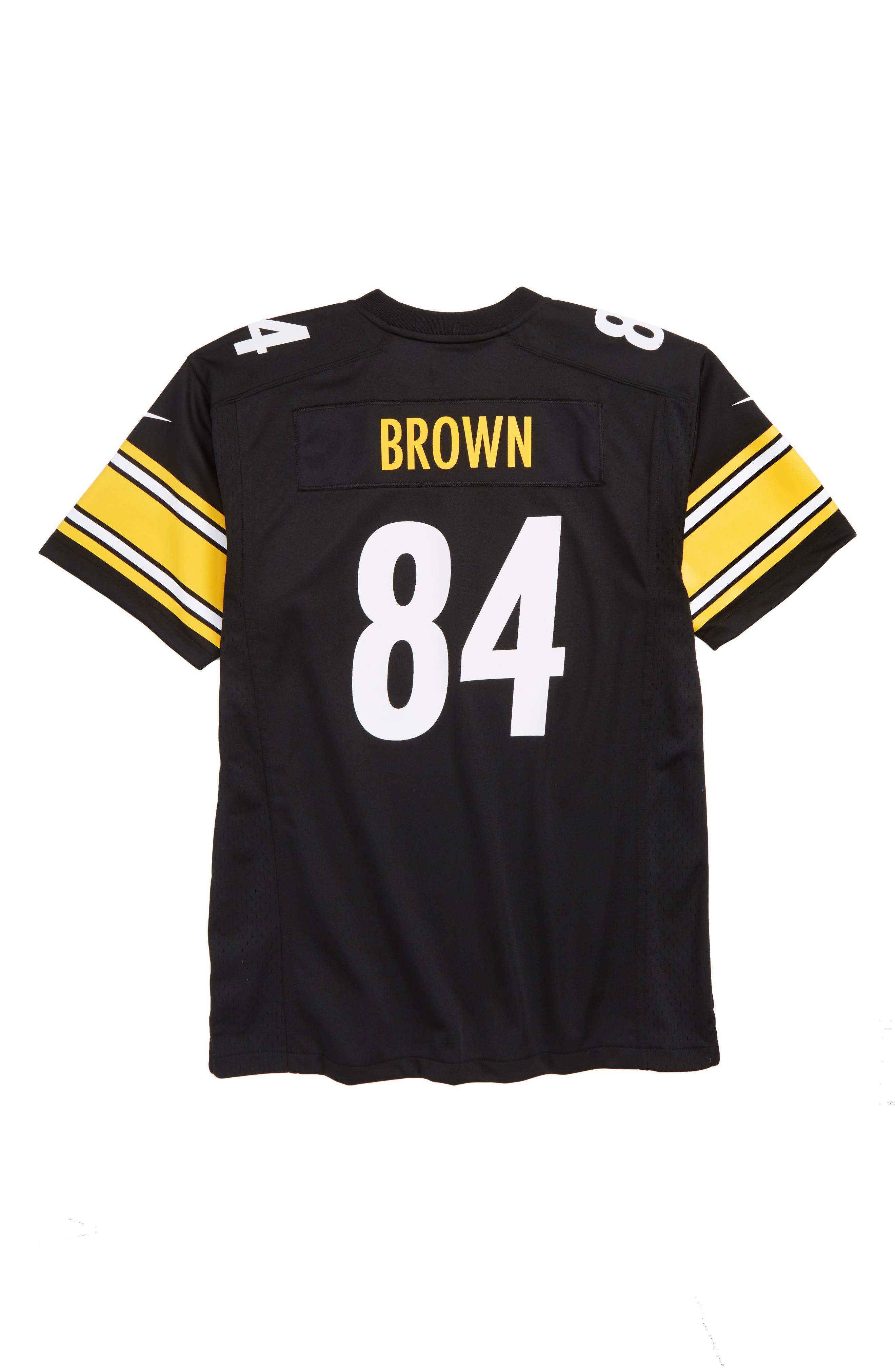NFL Logo Pittsburgh Steelers Antonio Brown Jersey,                             Alternate thumbnail 2, color,                             BLACK