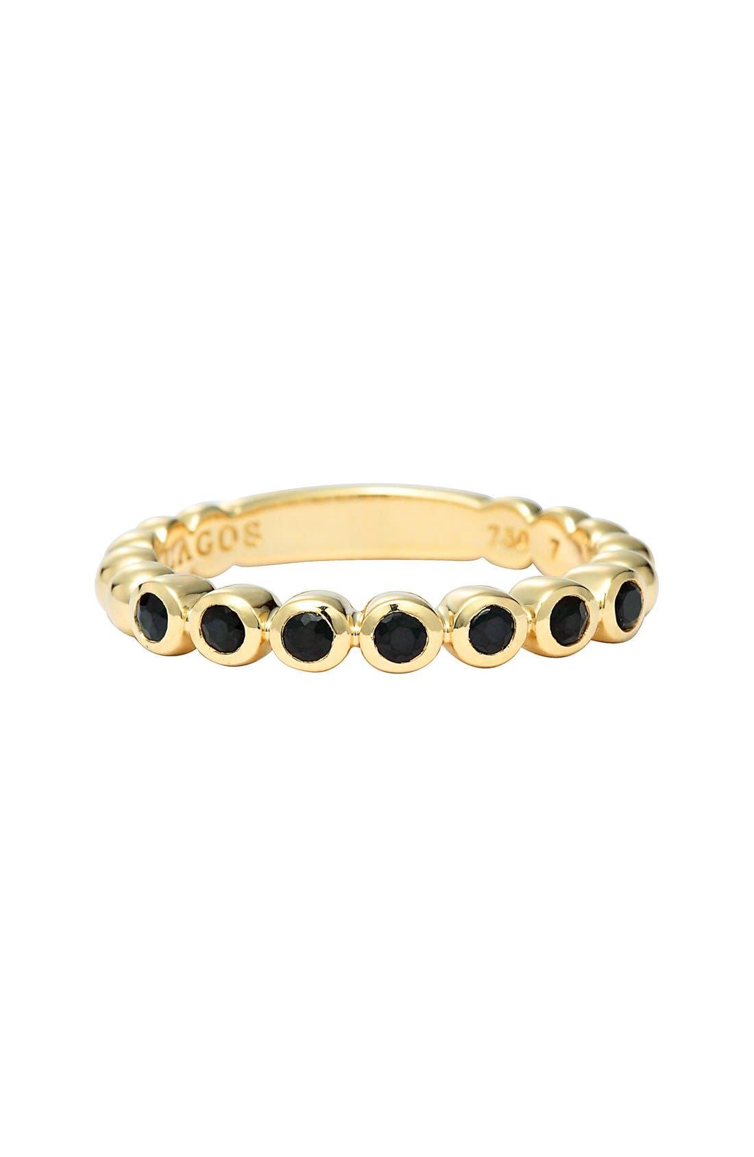 Covet Stone Caviar Stack Ring,                             Alternate thumbnail 4, color,                             GOLD/ BLACK SAPPHIRE