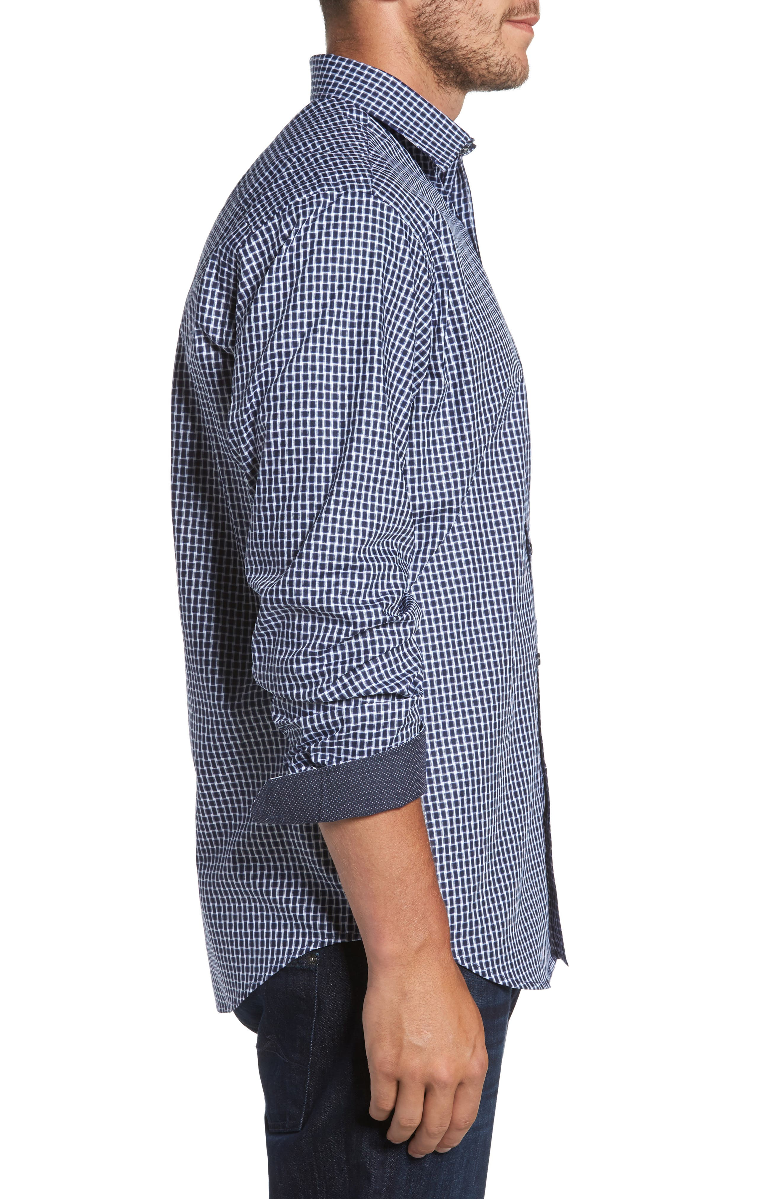 Classic Fit Geo Patterned Sport Shirt,                             Alternate thumbnail 3, color,                             411