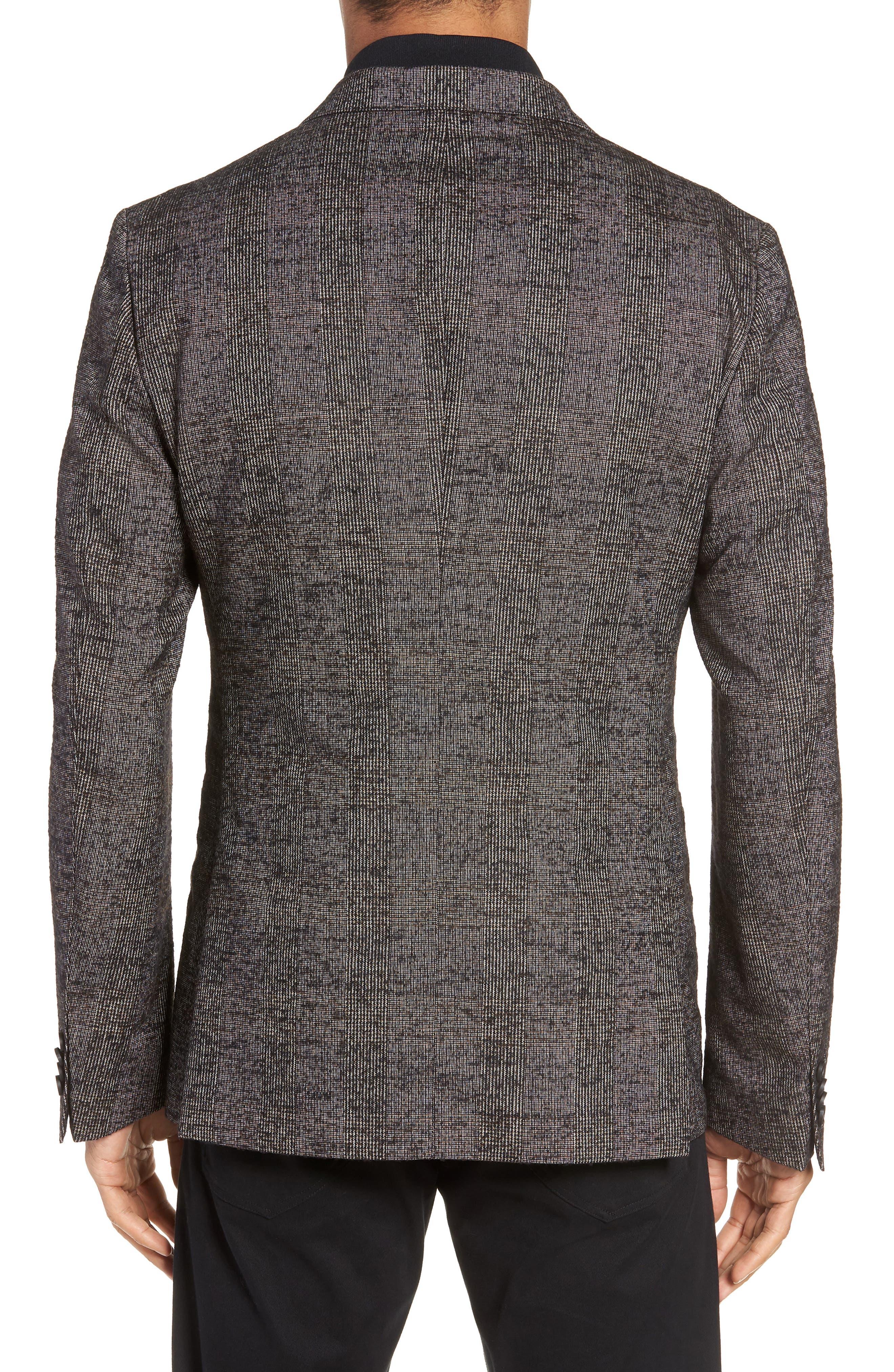 Nanon Trim Fit Plaid Wool Blend Sport Coat,                             Alternate thumbnail 2, color,                             BLACK