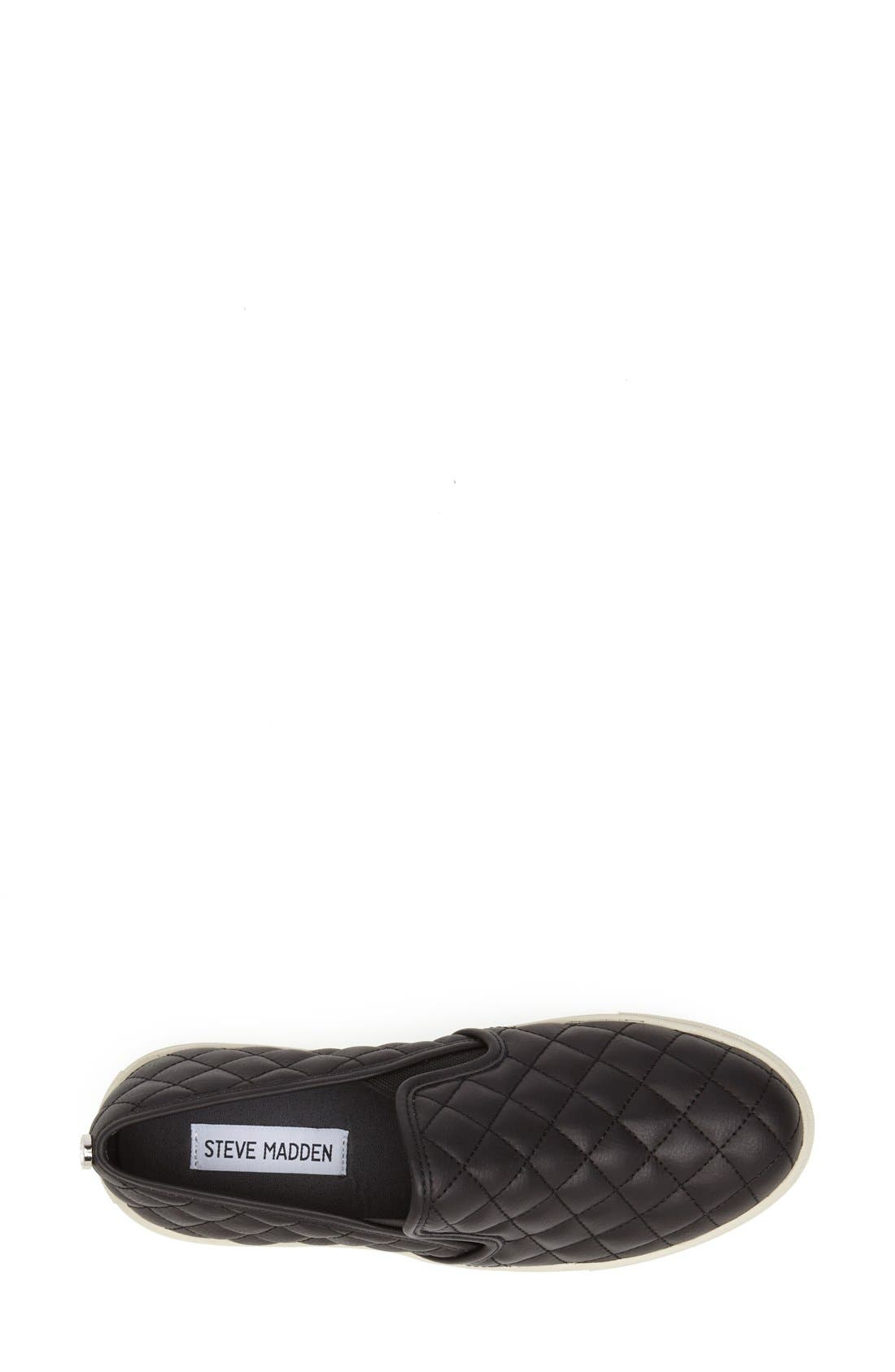 STEVE MADDEN,                             Ecentrcq Sneaker,                             Alternate thumbnail 2, color,                             BLACK FAUX LEATHER