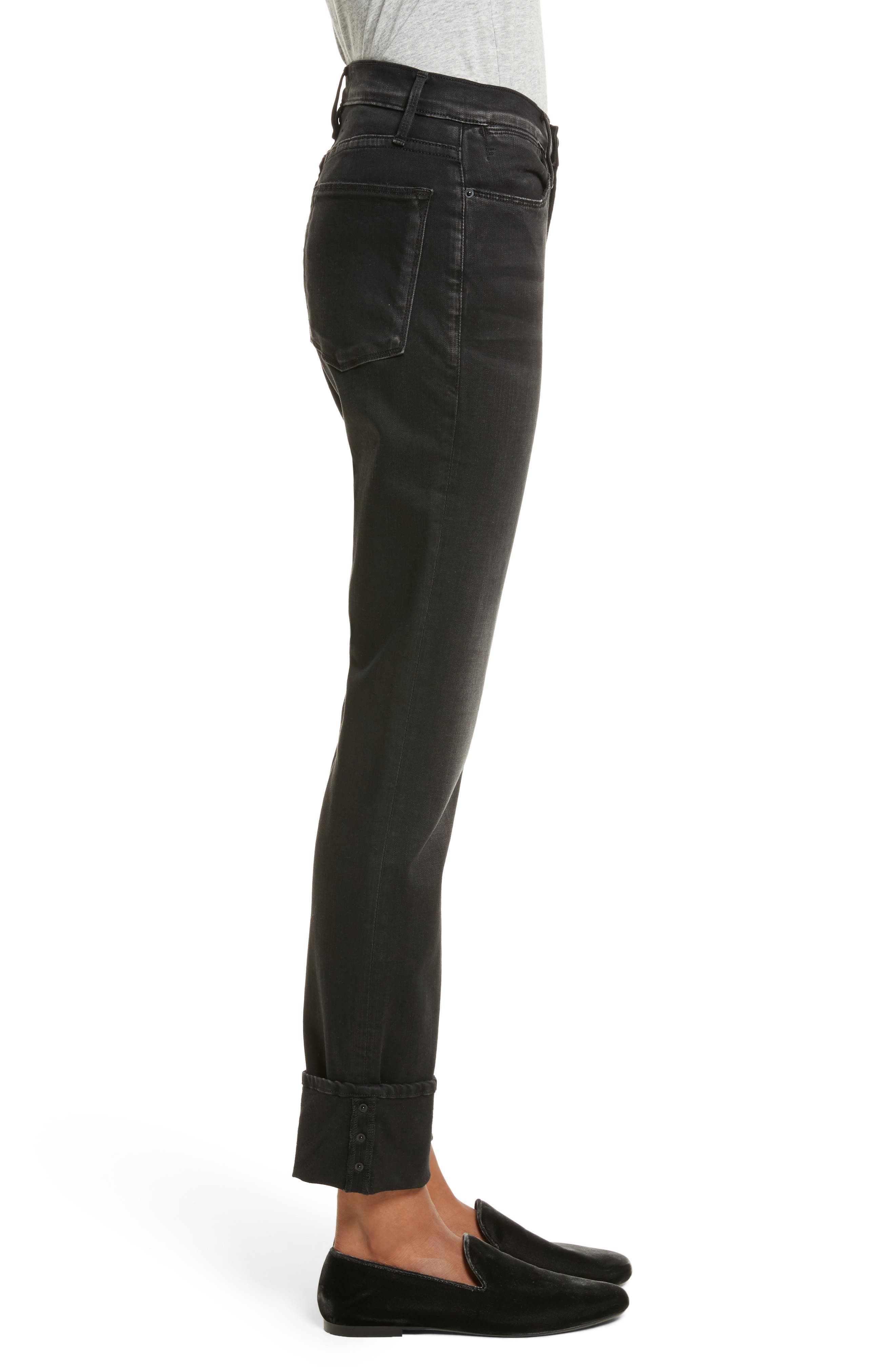Le High Straight Leg Cuffed Jeans,                             Alternate thumbnail 3, color,                             001
