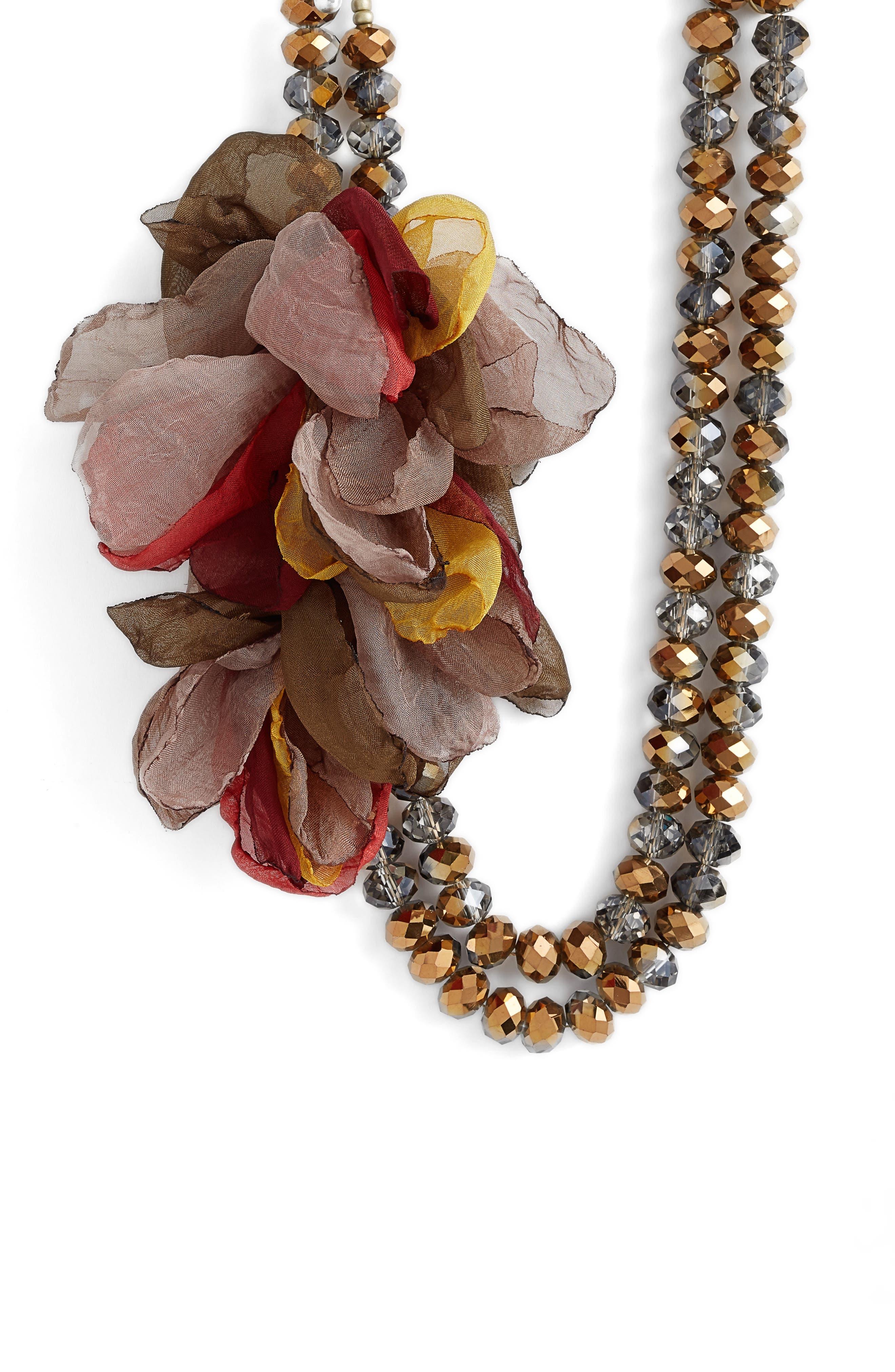 STELLA + RUBY Stella & Ruby Beaded Chiffon Necklace, Main, color, 200