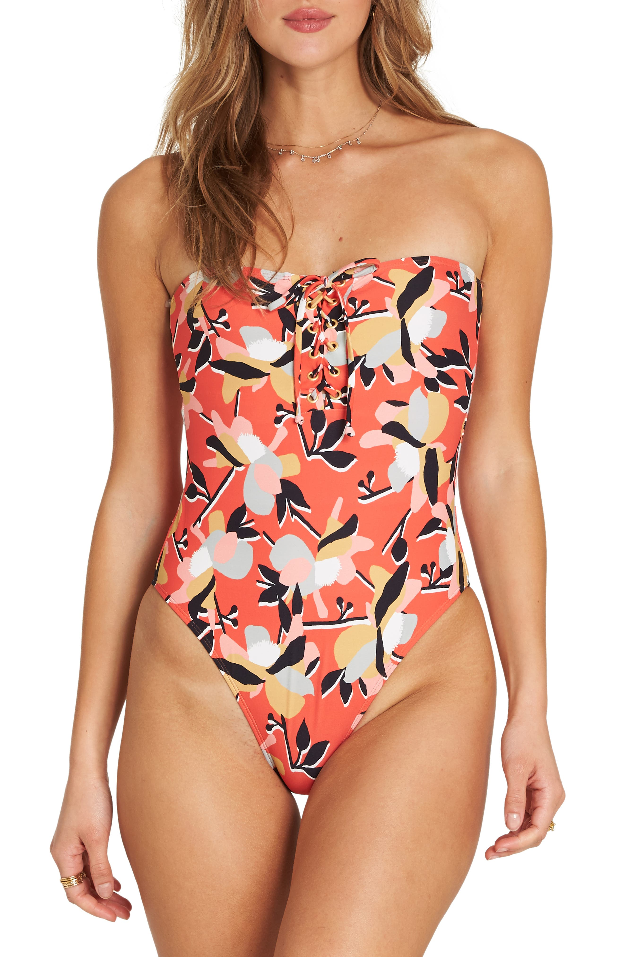 Billabong Fire Eyes One-Piece Swimsuit, Red