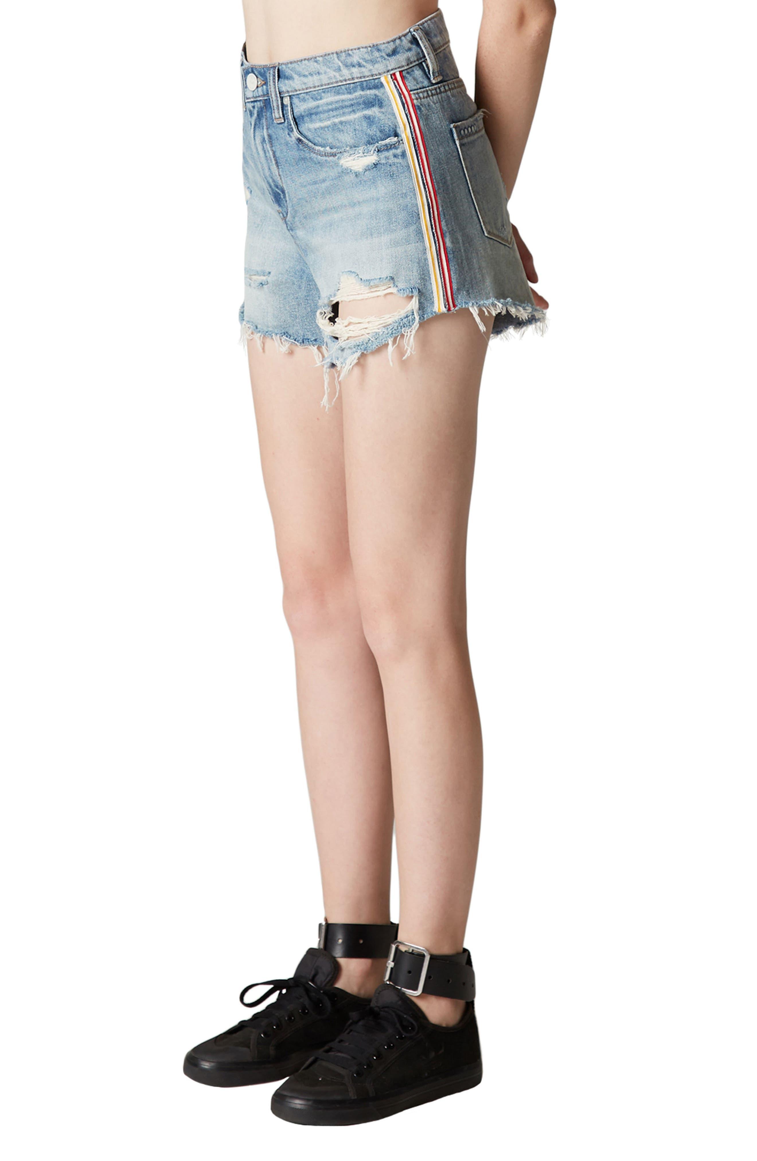 Now or Never Side Stripe Distressed Denim Shorts,                             Alternate thumbnail 3, color,