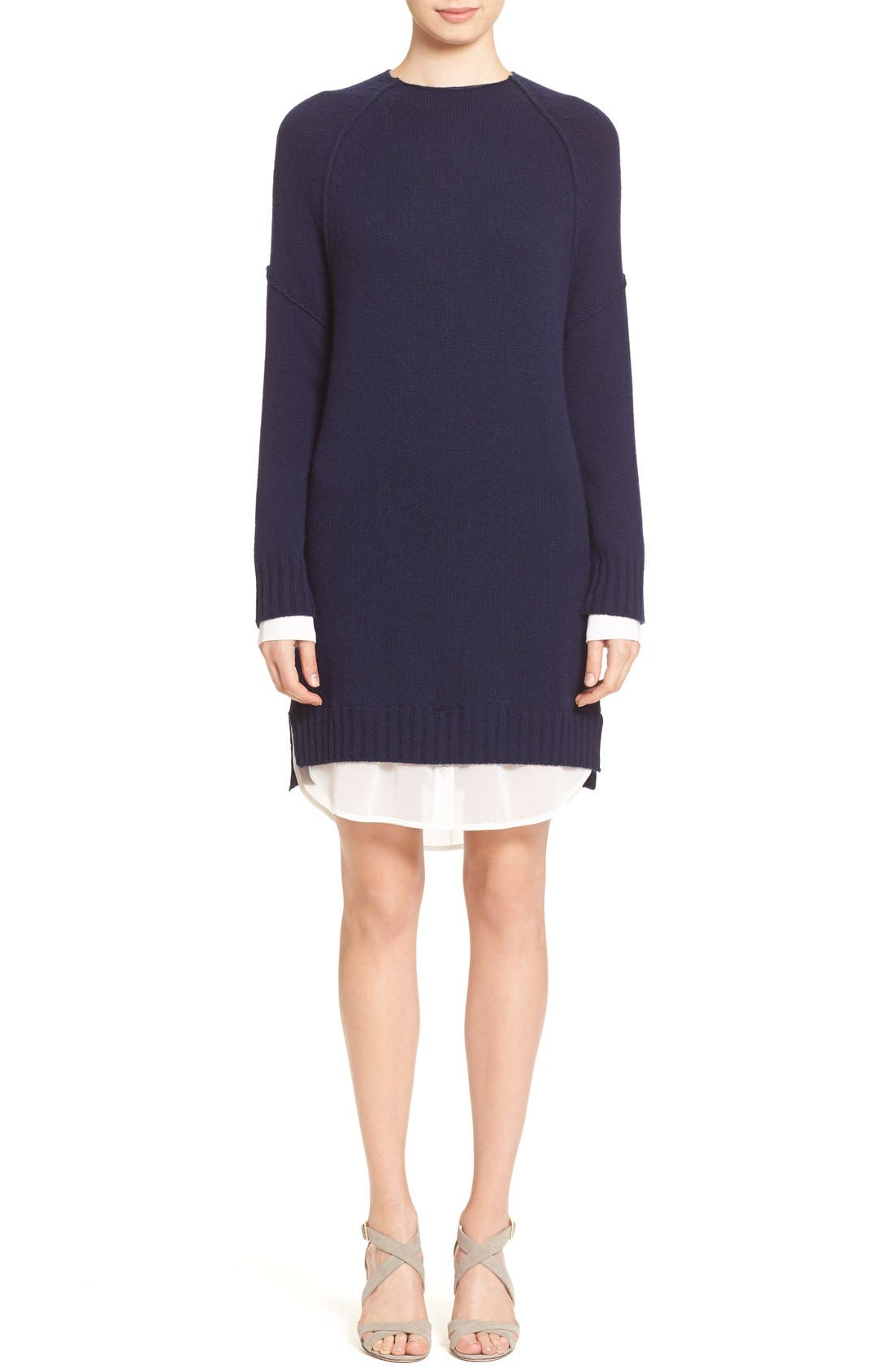'Looker' Layered Wool & Cashmere Dress,                             Main thumbnail 1, color,                             414