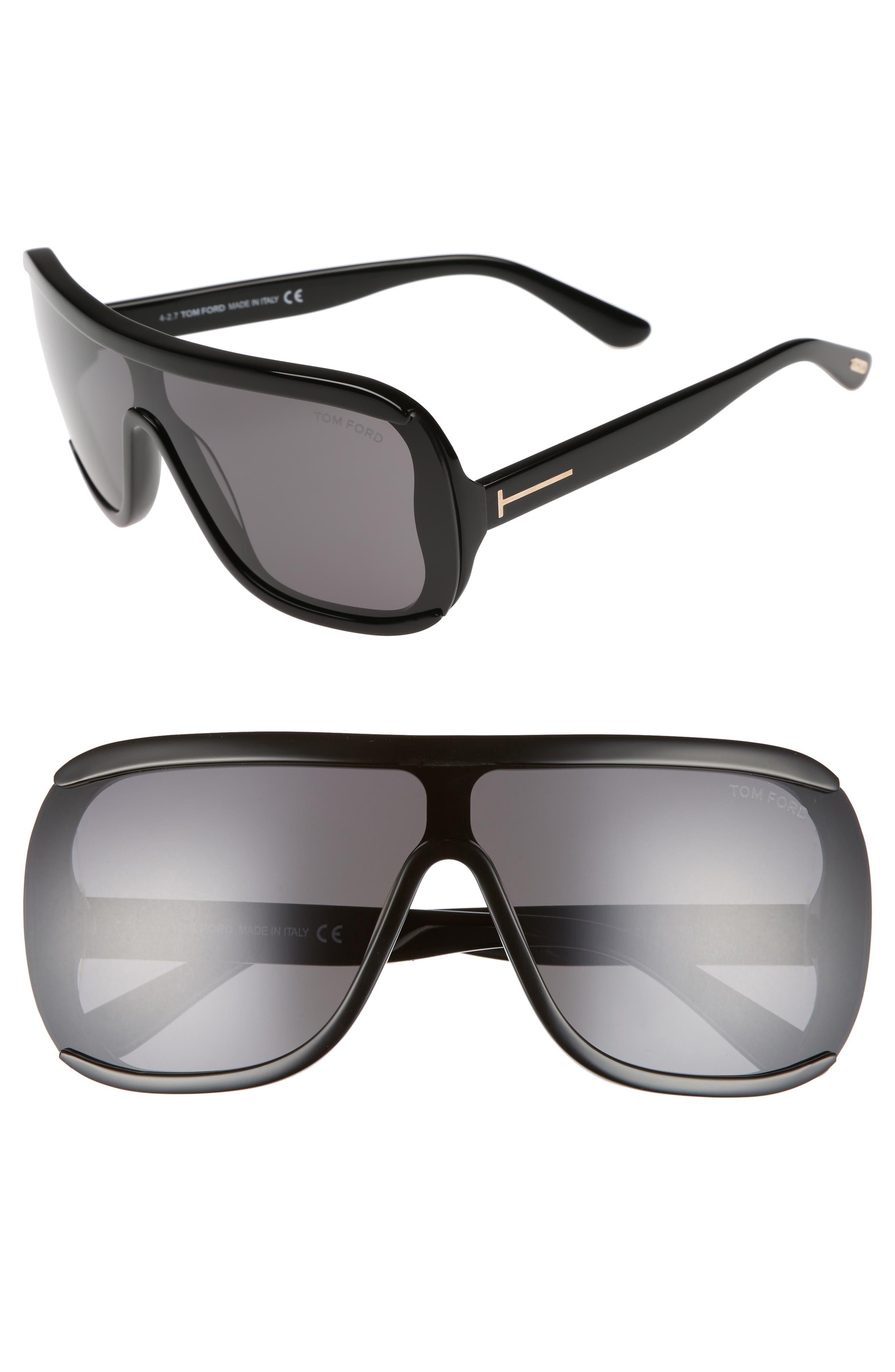 TOM FORD Porfirio 65mm One-Piece Lens Shield Sunglasses, Main, color, 001