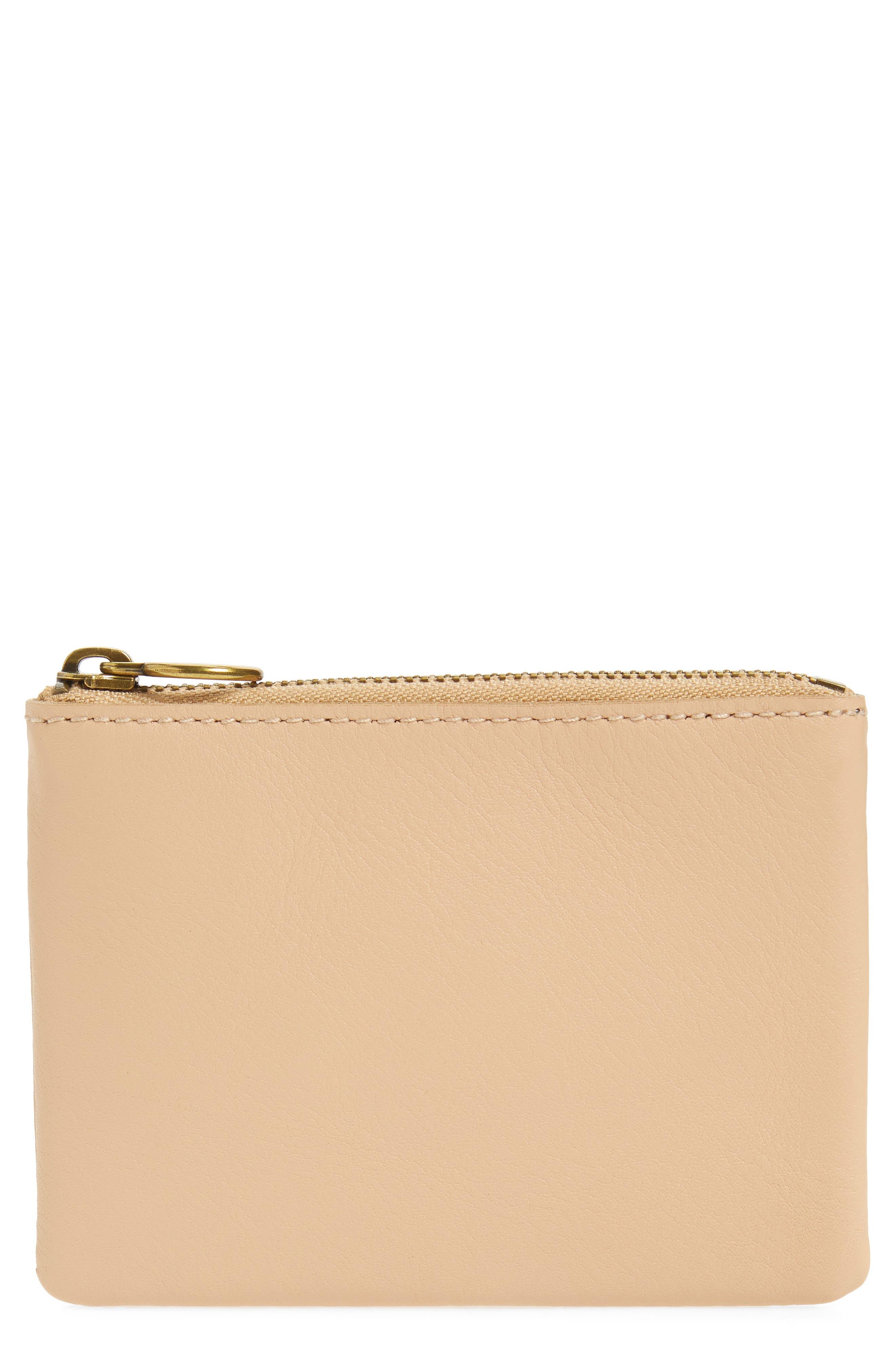 The Leather Pouch Wallet,                             Main thumbnail 1, color,                             LINEN