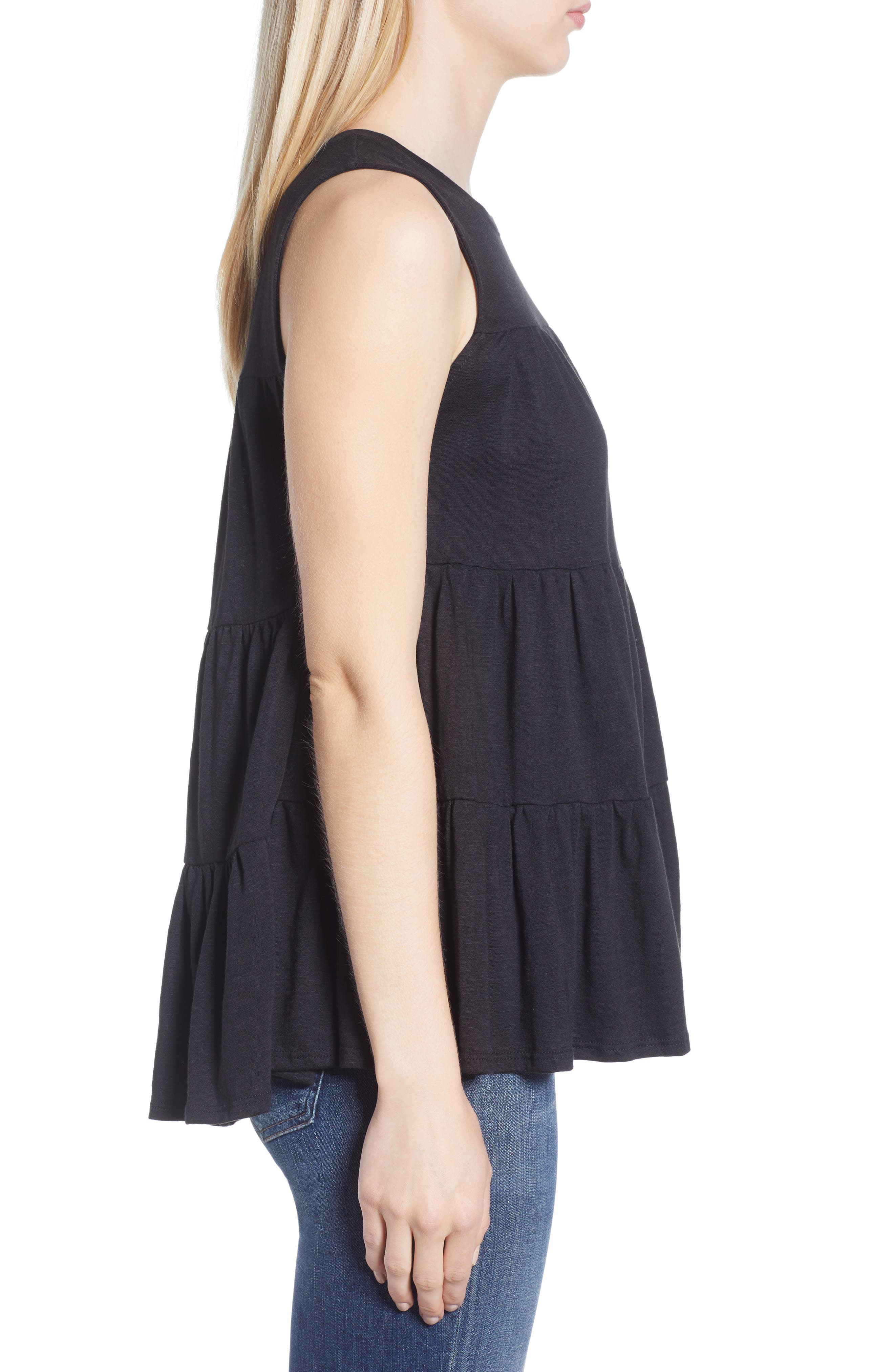 Tiered Ruffle Cotton Blend Tank Top,                             Alternate thumbnail 3, color,                             BLACK