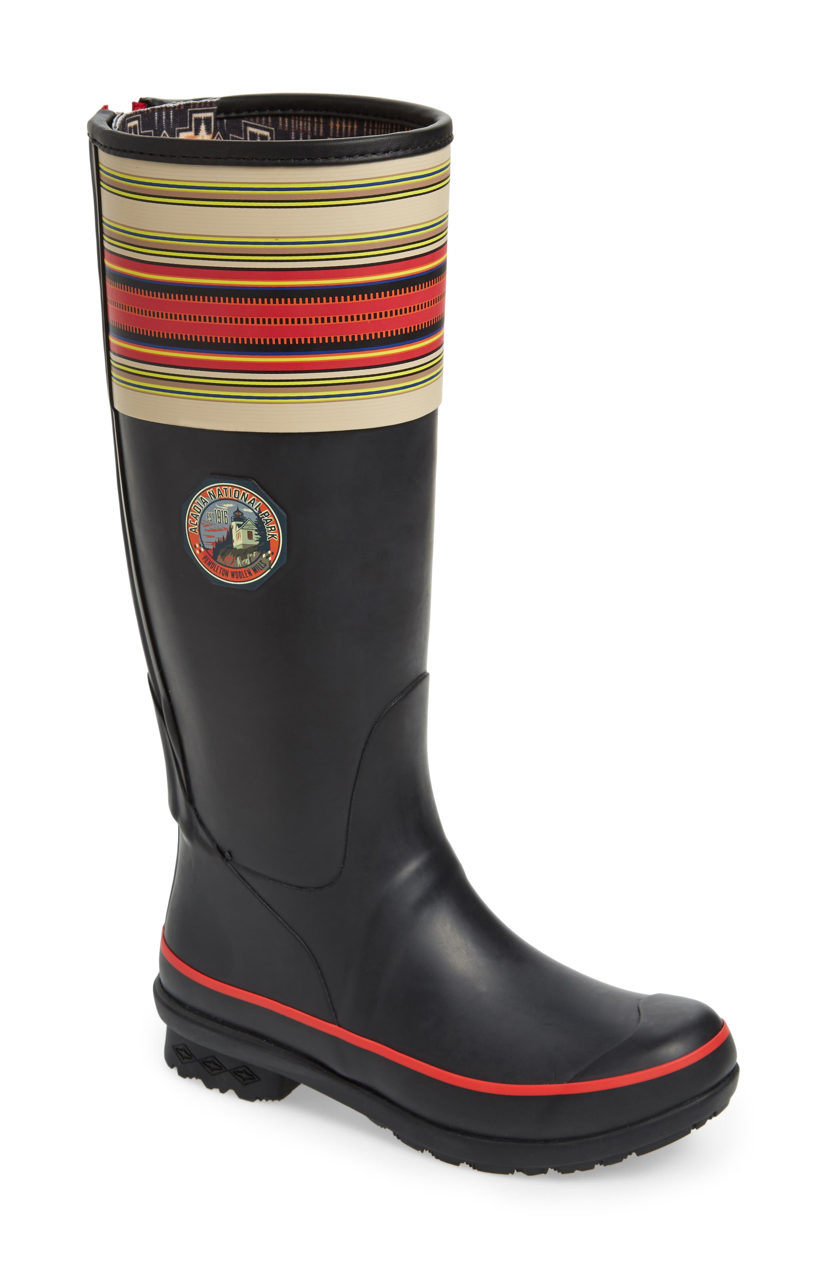 Pendleton Acadia National Park Tall Rain Boot,                             Main thumbnail 1, color,                             BLACK