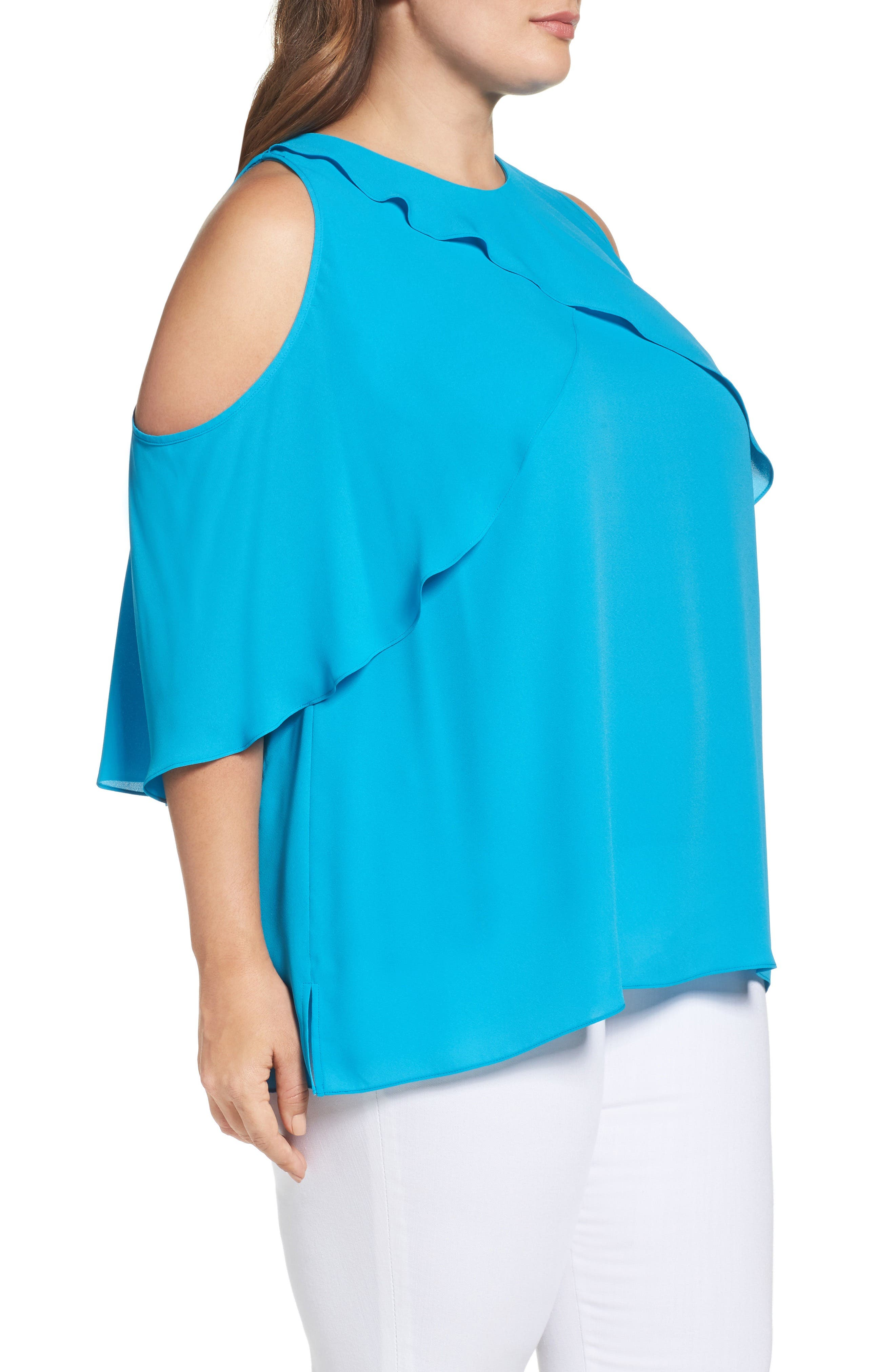 Cold Shoulder Ruffled Blouse,                             Alternate thumbnail 13, color,