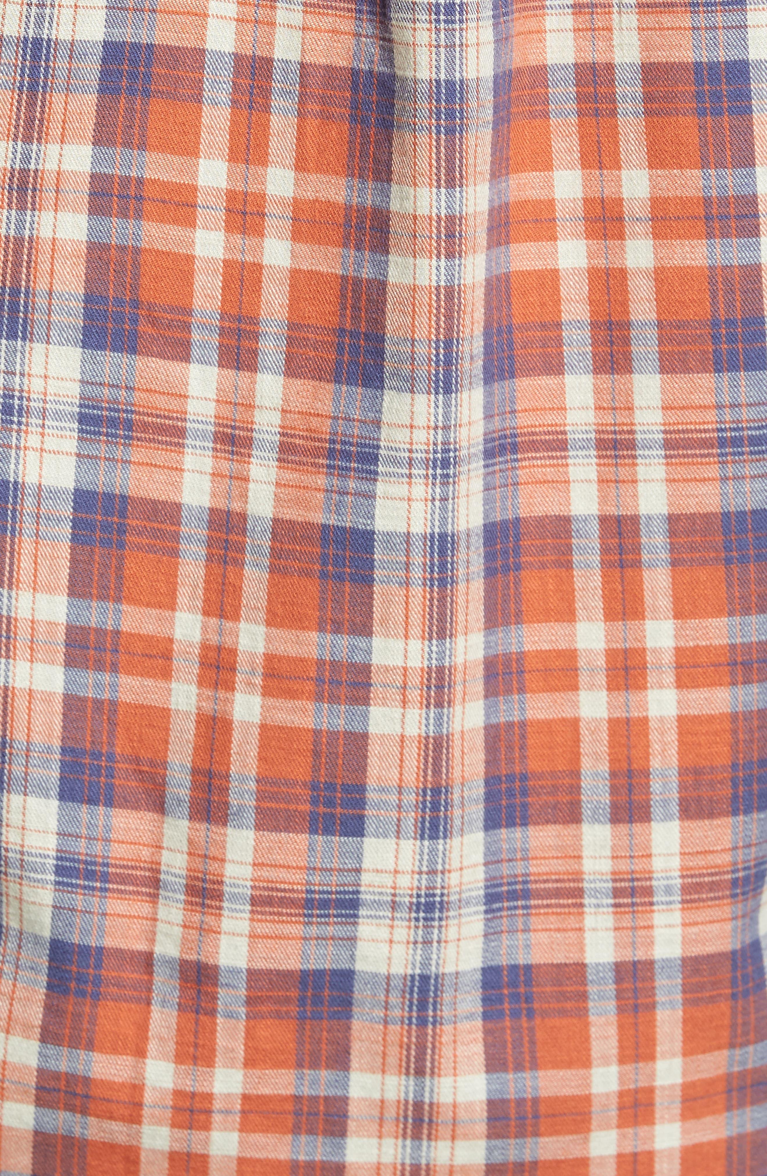 Scottsdale Slim Fit Plaid Slub Twill Sport Shirt,                             Alternate thumbnail 5, color,                             840