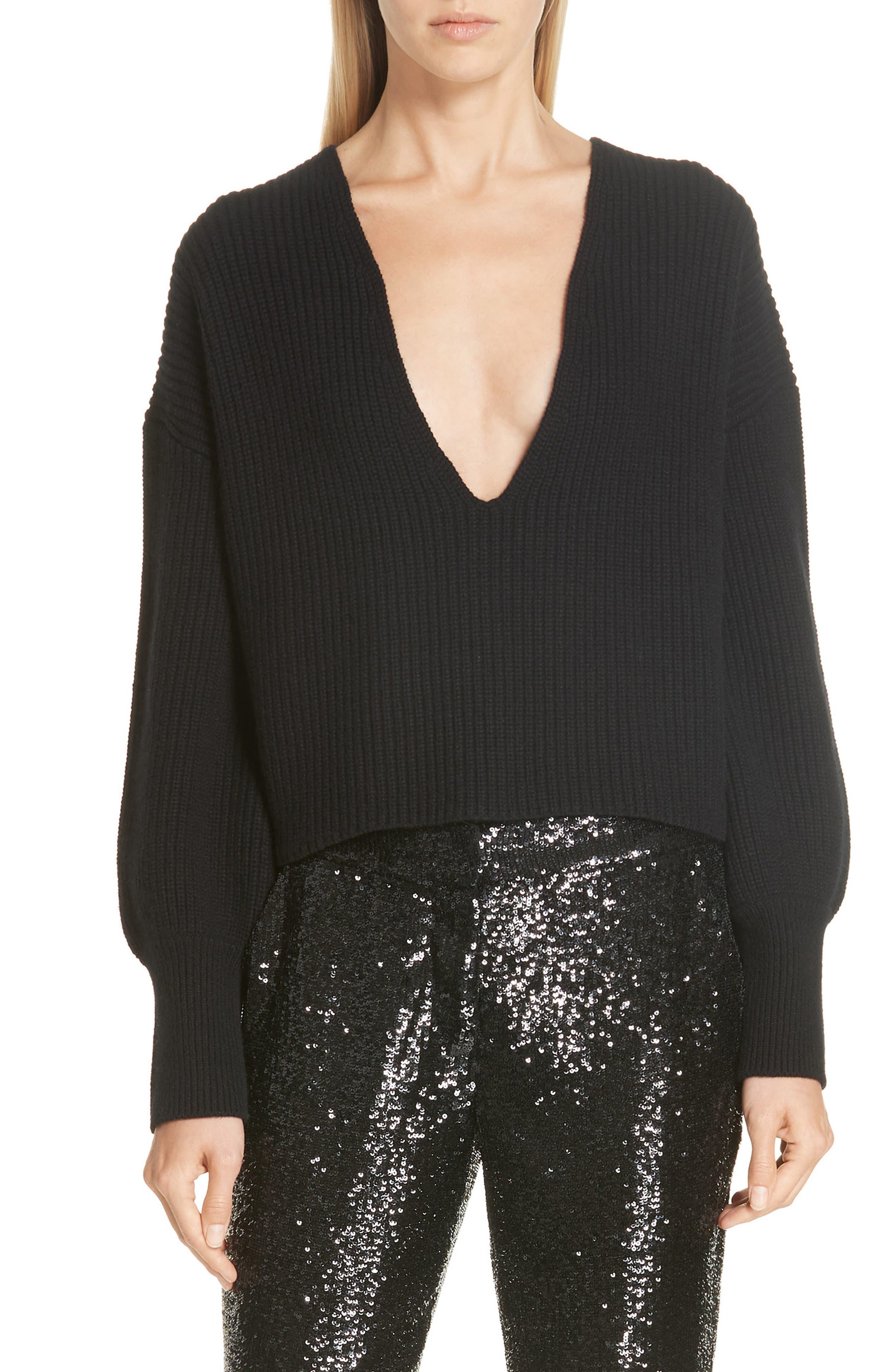 A.l.c. Melanie Plunging Merino Wool Sweater, Black