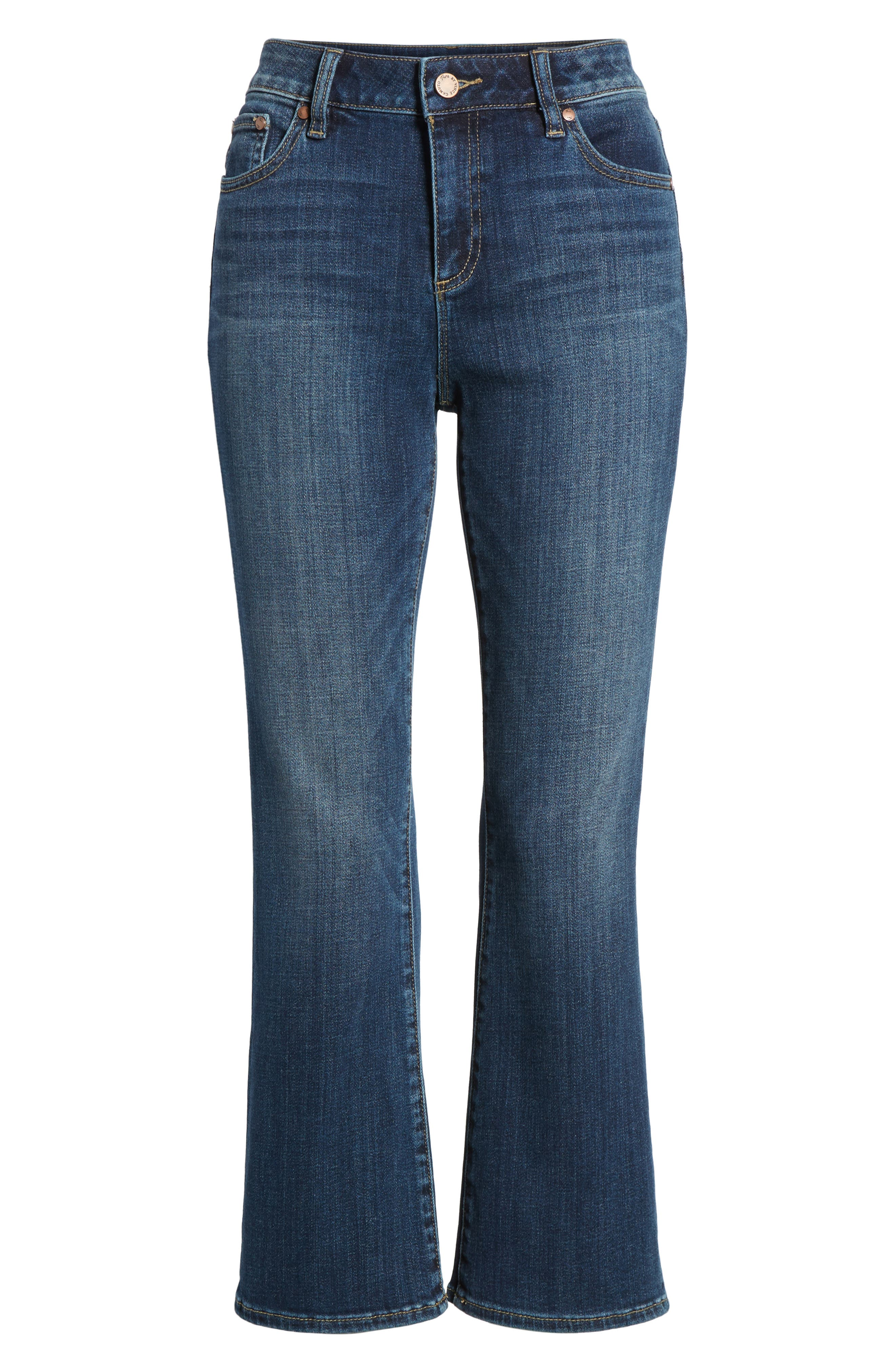 Two by Vince Camuto Cropped Flare Jeans,                             Alternate thumbnail 6, color,                             MID VINTAGE