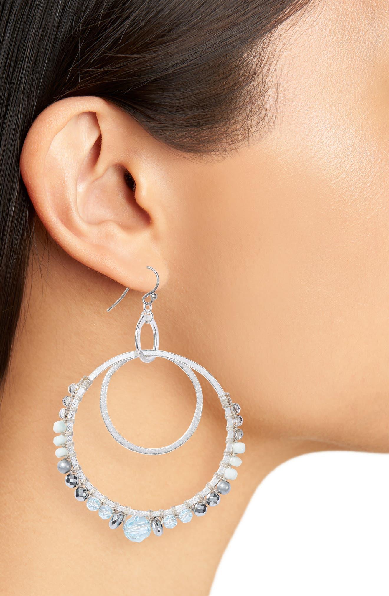 Semiprecious Stone Double Hoop Drop Earrings,                             Alternate thumbnail 2, color,                             AQUA MIX