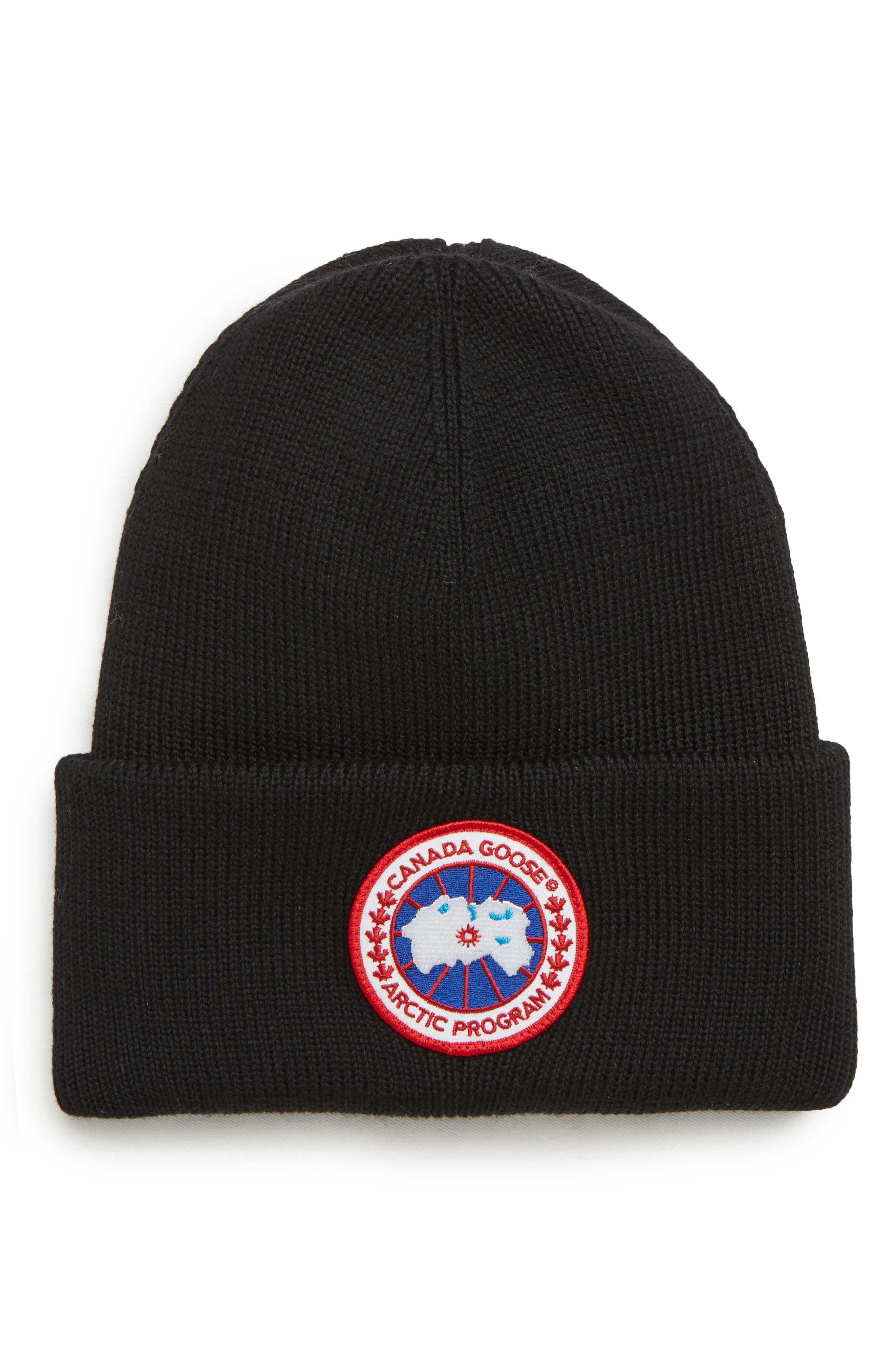 CANADA GOOSE Arctic Disc Merino Wool Toque Beanie, Main, color, BLACK