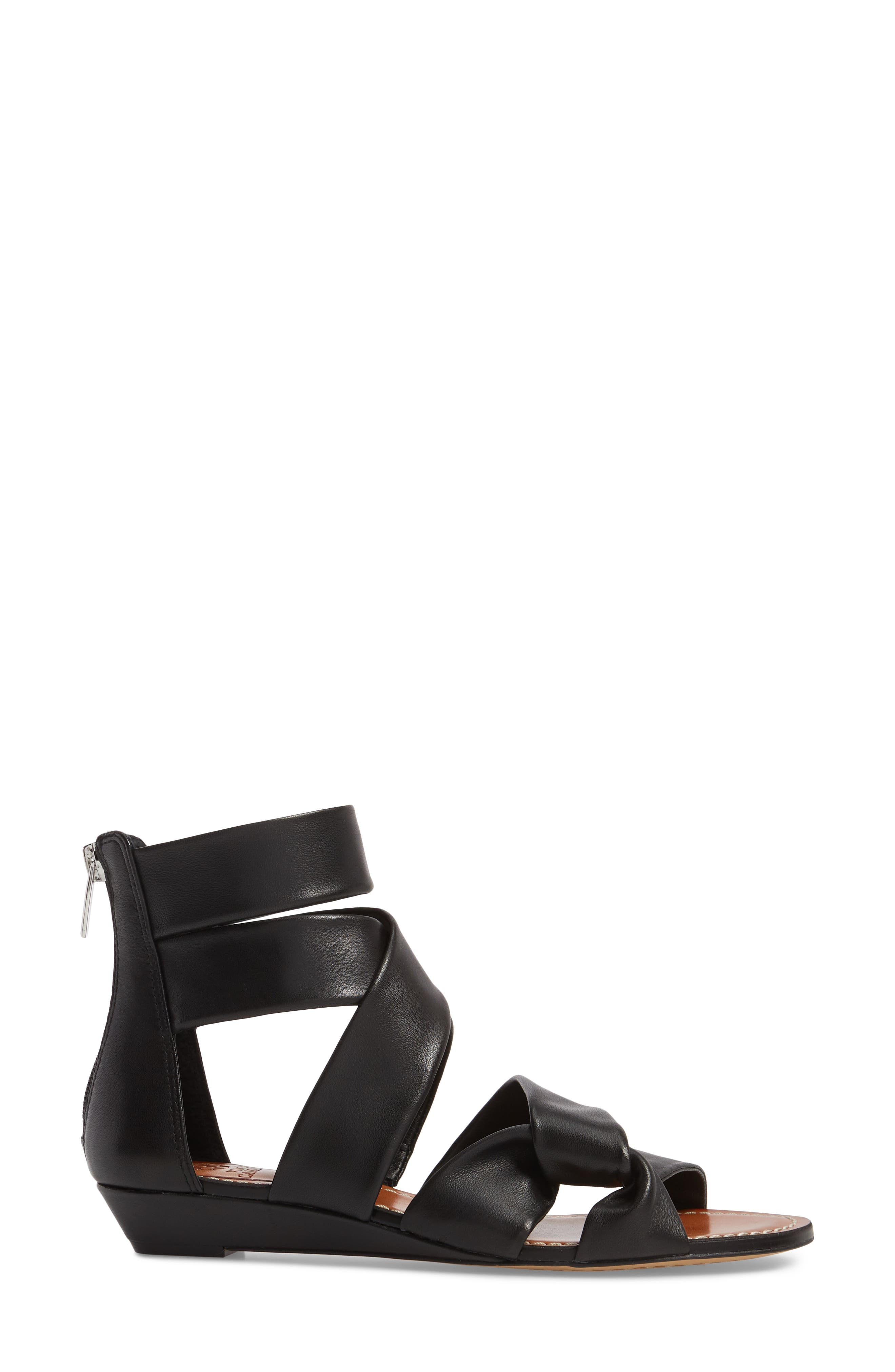 Seevina Low Wedge Sandal,                             Alternate thumbnail 3, color,                             BLACK LEATHER