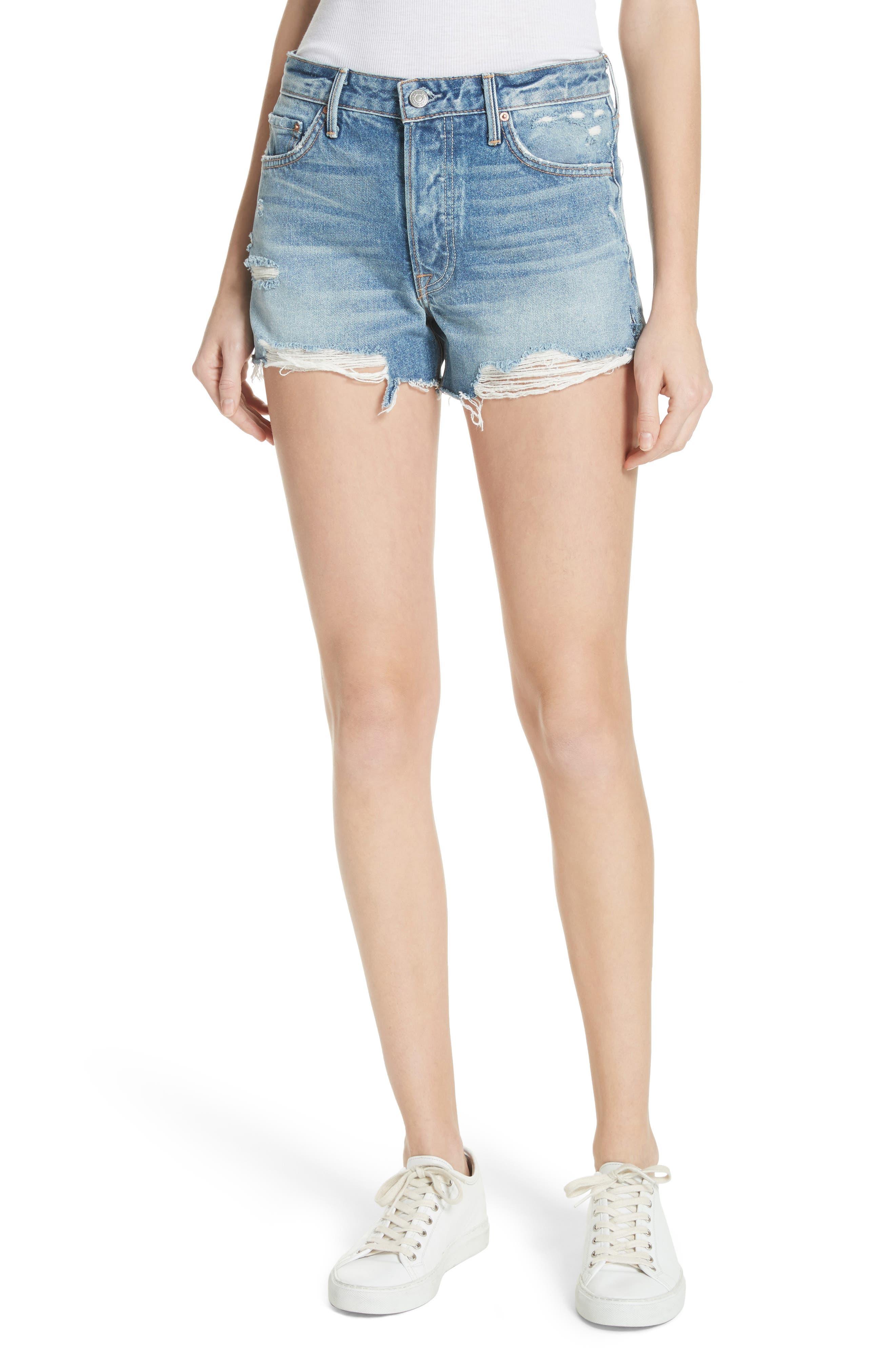 Dovima Distressed Denim Shorts,                         Main,                         color, 476