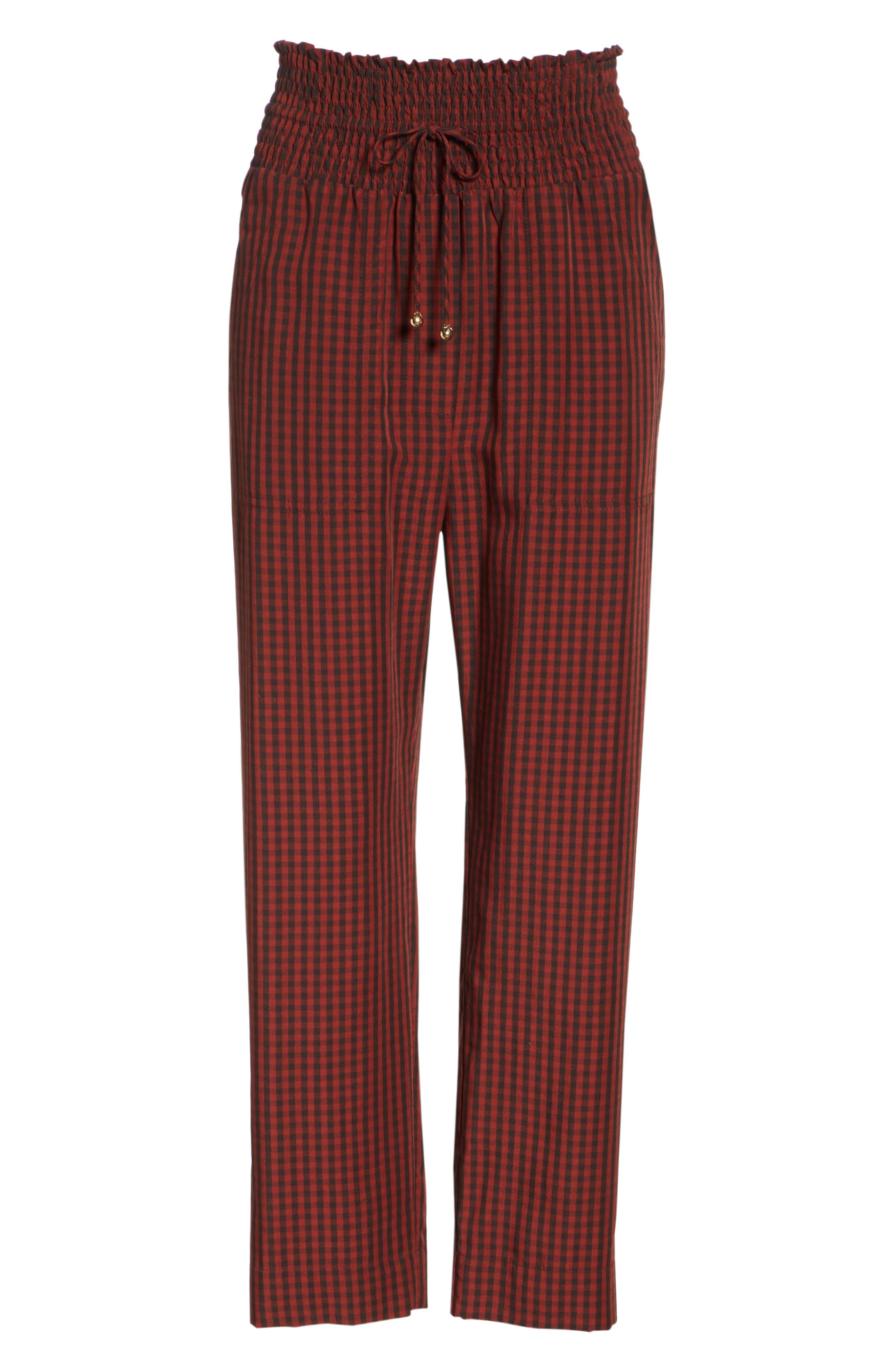 Harlem Gingham Crop Pants,                             Alternate thumbnail 6, color,                             RED CHECK