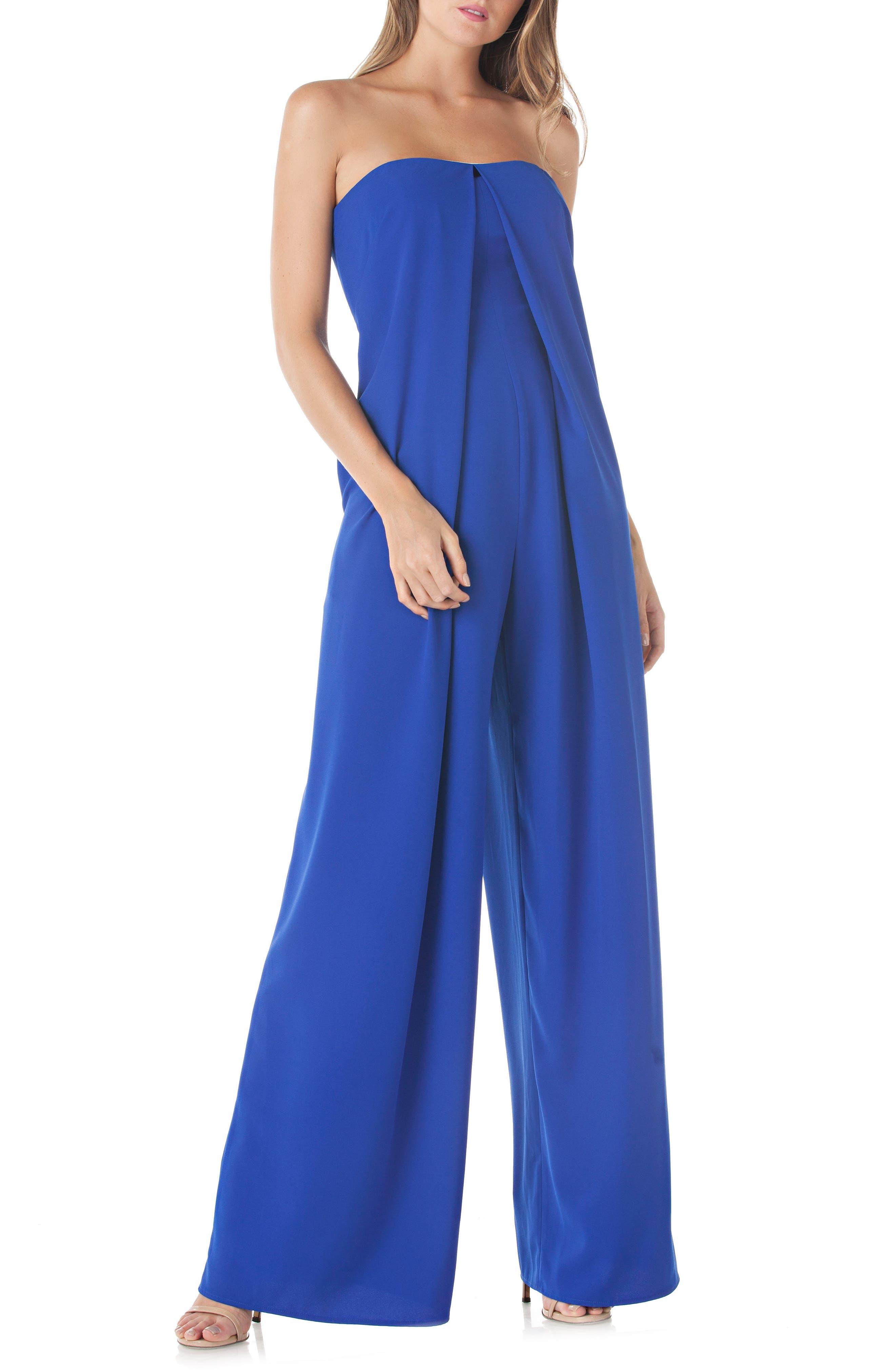Strapless Crepe Jumpsuit,                         Main,                         color, SAPPHIRE