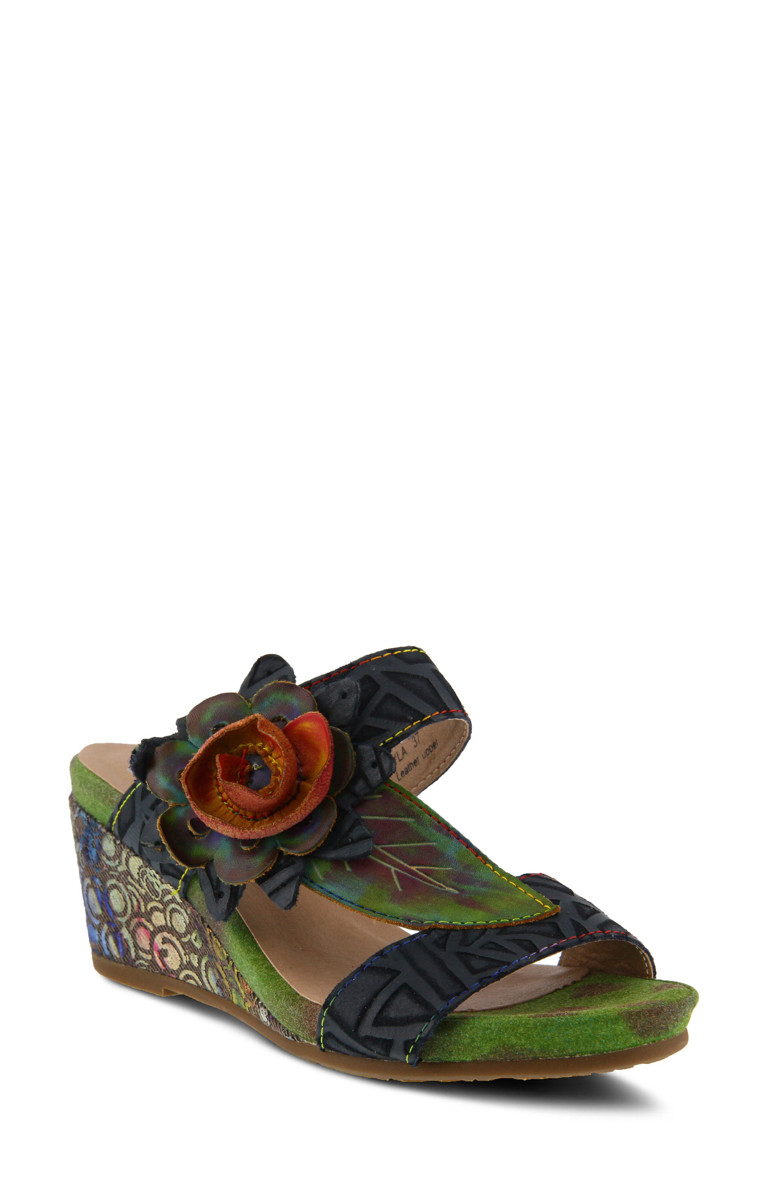 L'Artiste Shayla Wedge Sandal,                             Main thumbnail 1, color,                             NAVY LEATHER