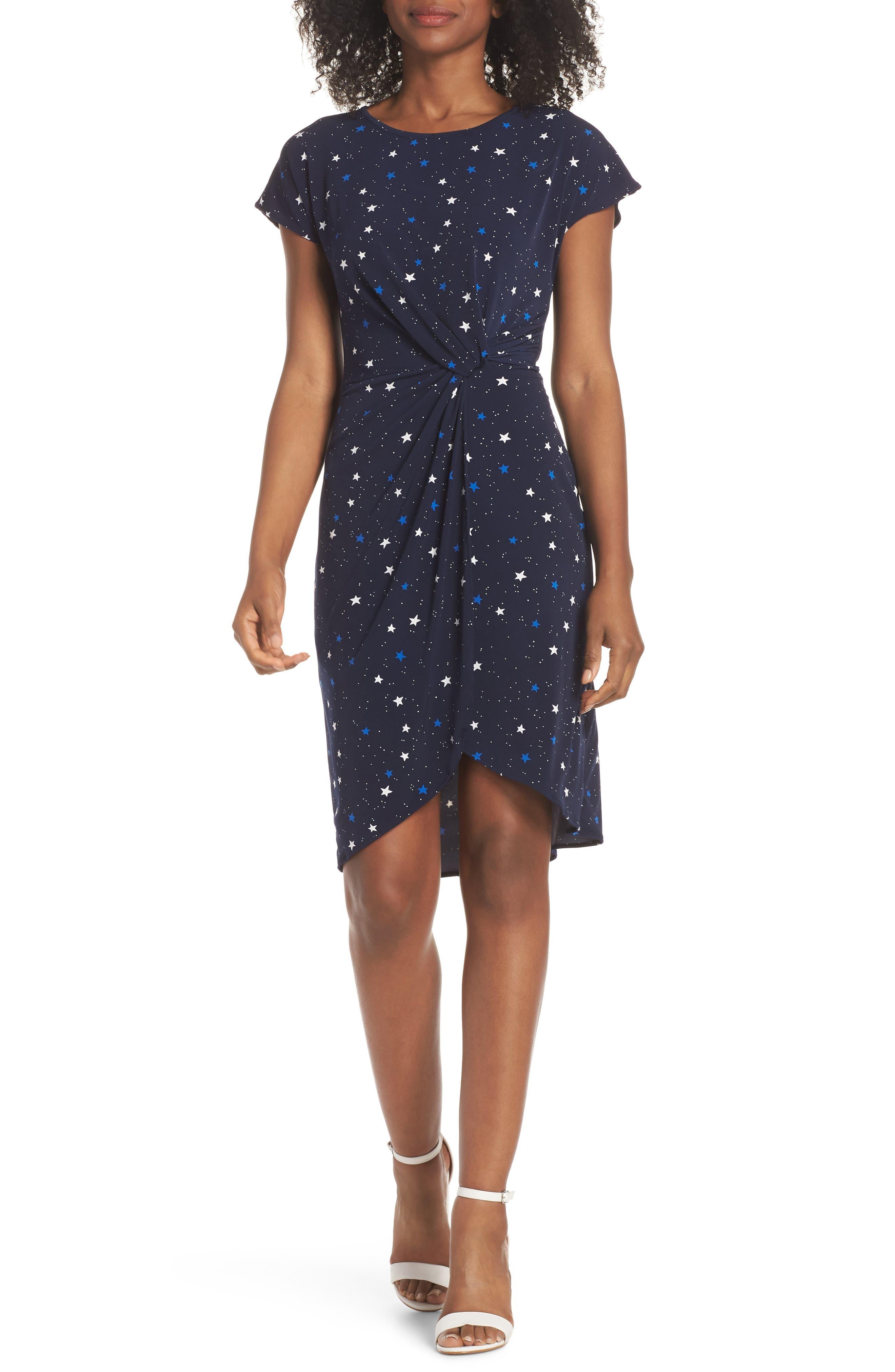 Leota Mini Twist Dress, Blue