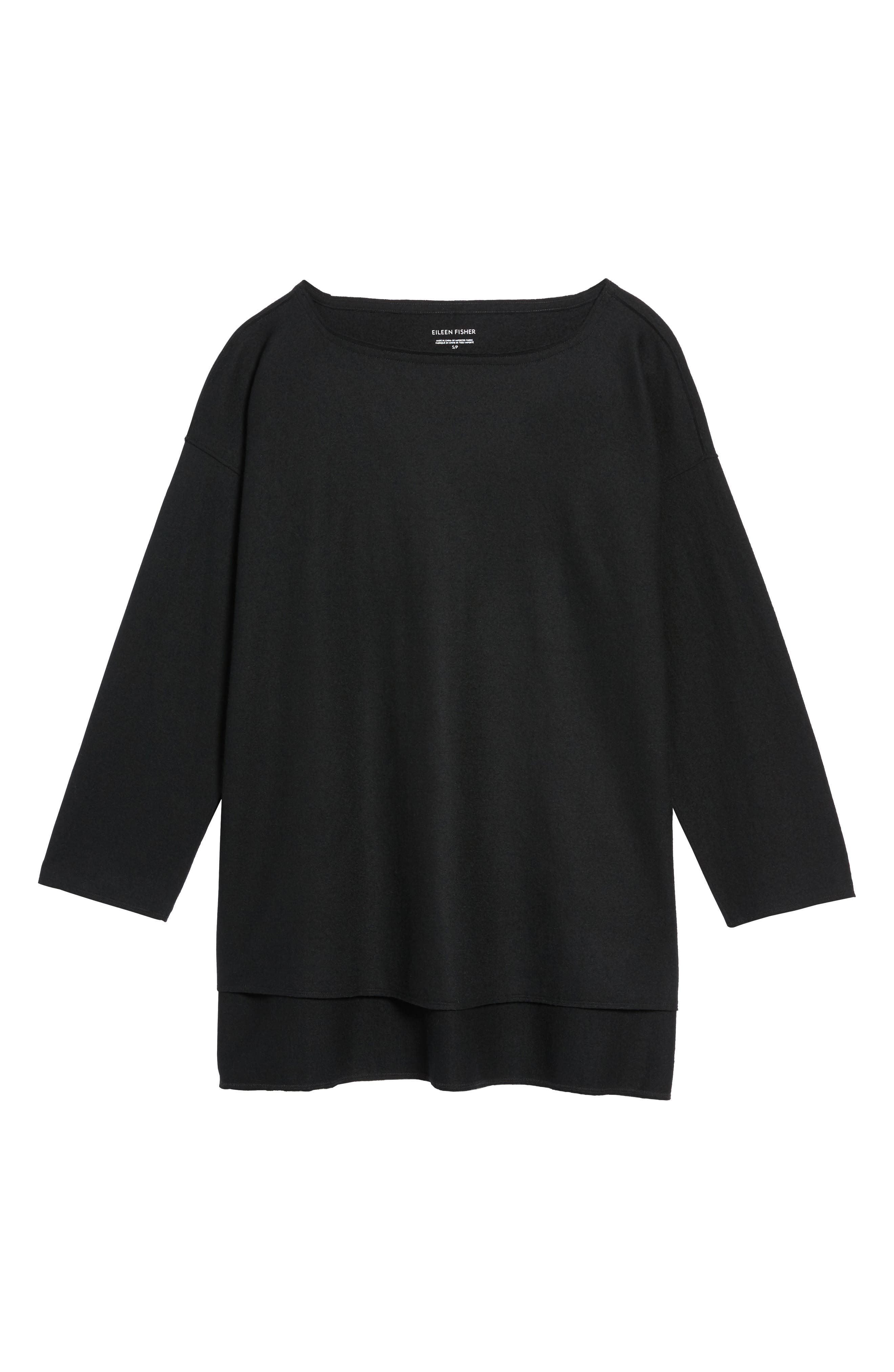 Boiled Wool Jersey Top,                             Alternate thumbnail 6, color,                             001