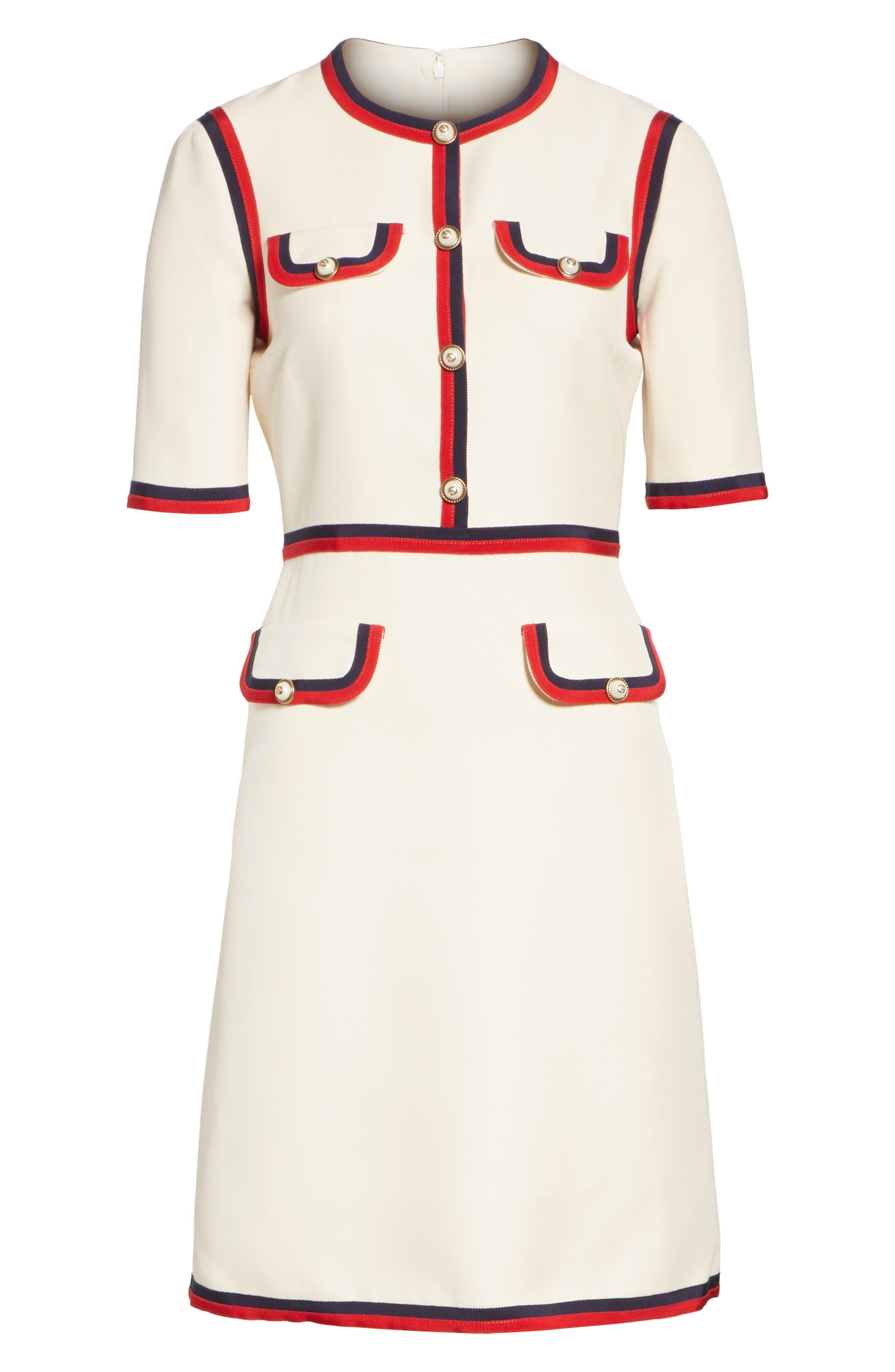Ribbon Trim Wool & Silk Crepe A-Line Dress,                             Alternate thumbnail 4, color,                             GARDENIA