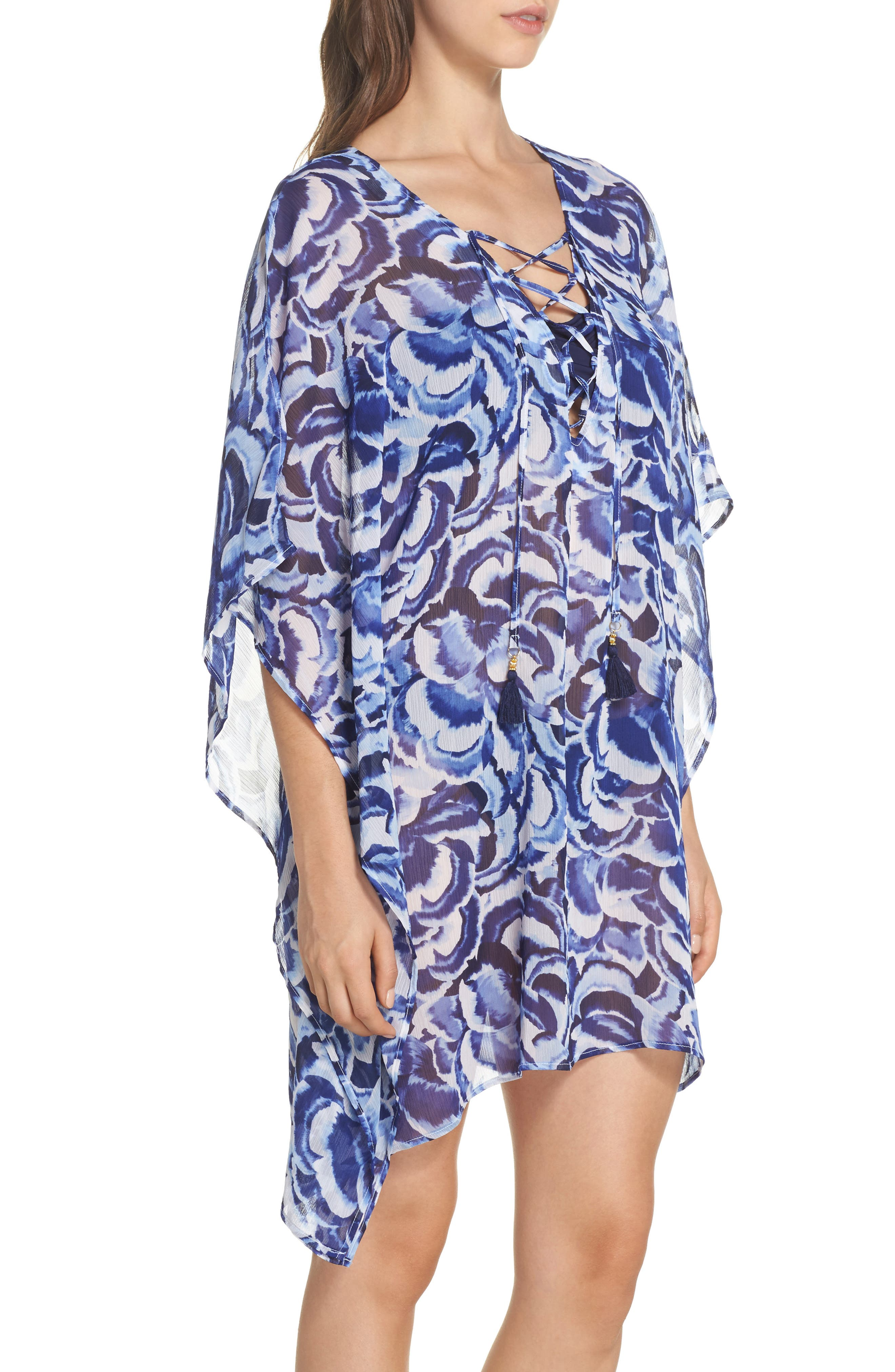 Pansy Petals Tunic Cover Up,                             Alternate thumbnail 3, color,                             100