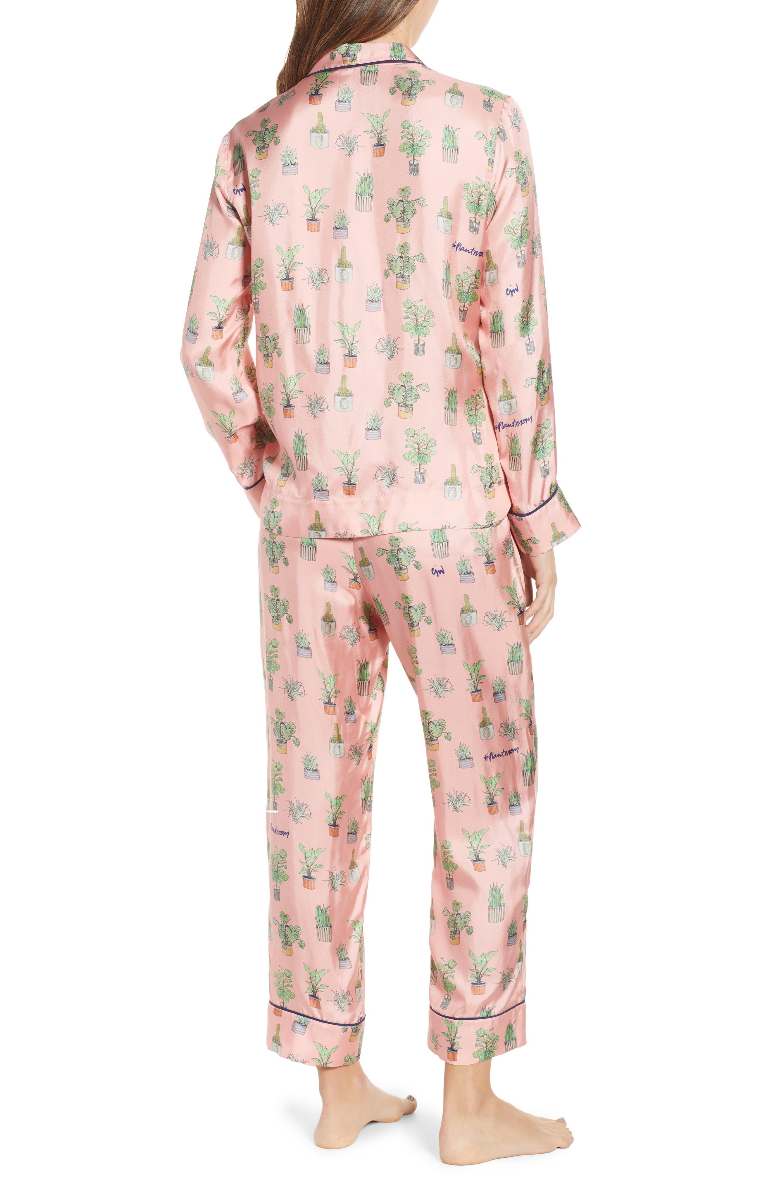 Plant Mom Silk Blend Pajamas & Eye Mask,                             Alternate thumbnail 2, color,                             650