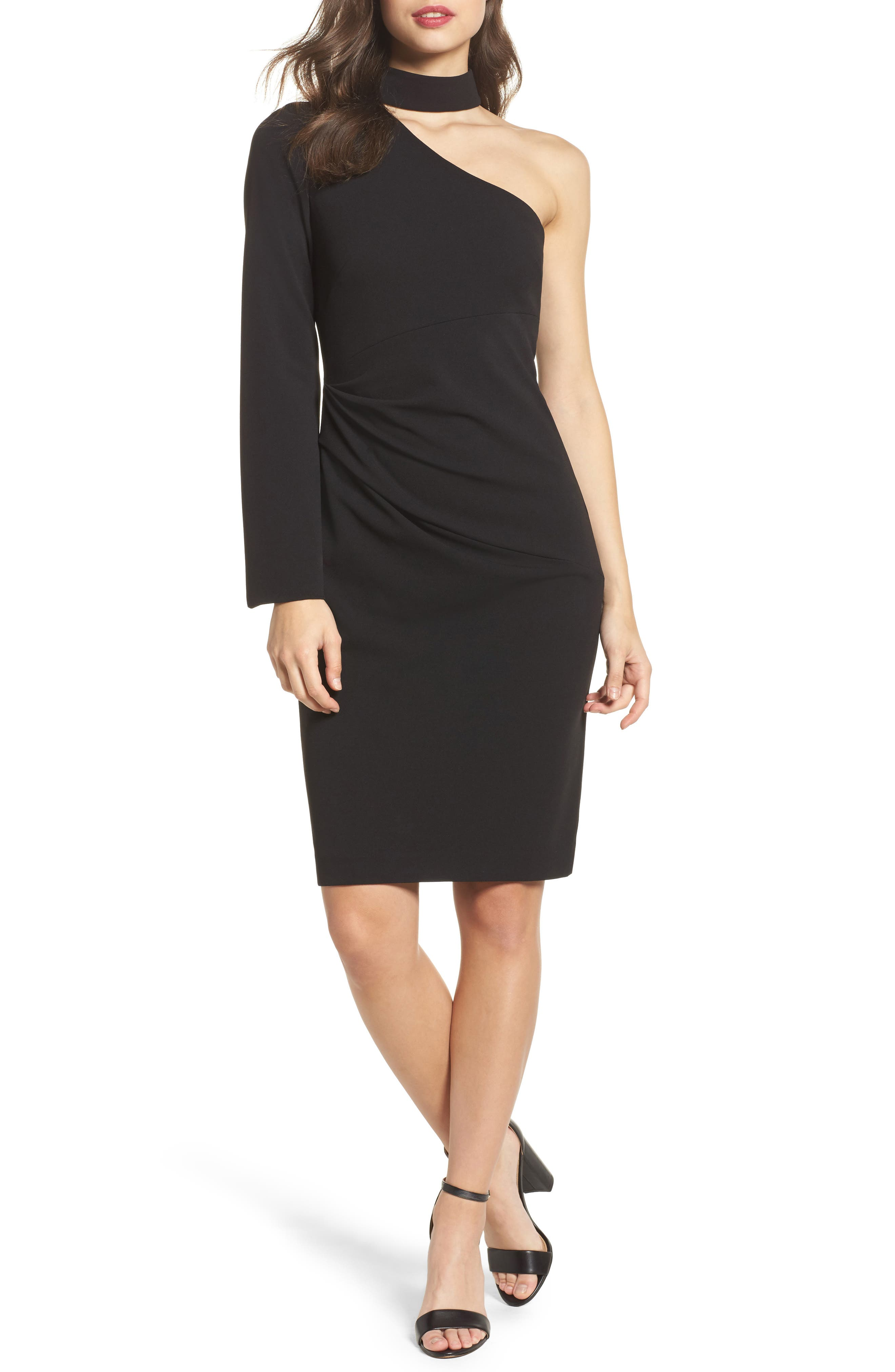 Choker One-Shoulder Dress,                         Main,                         color, 001