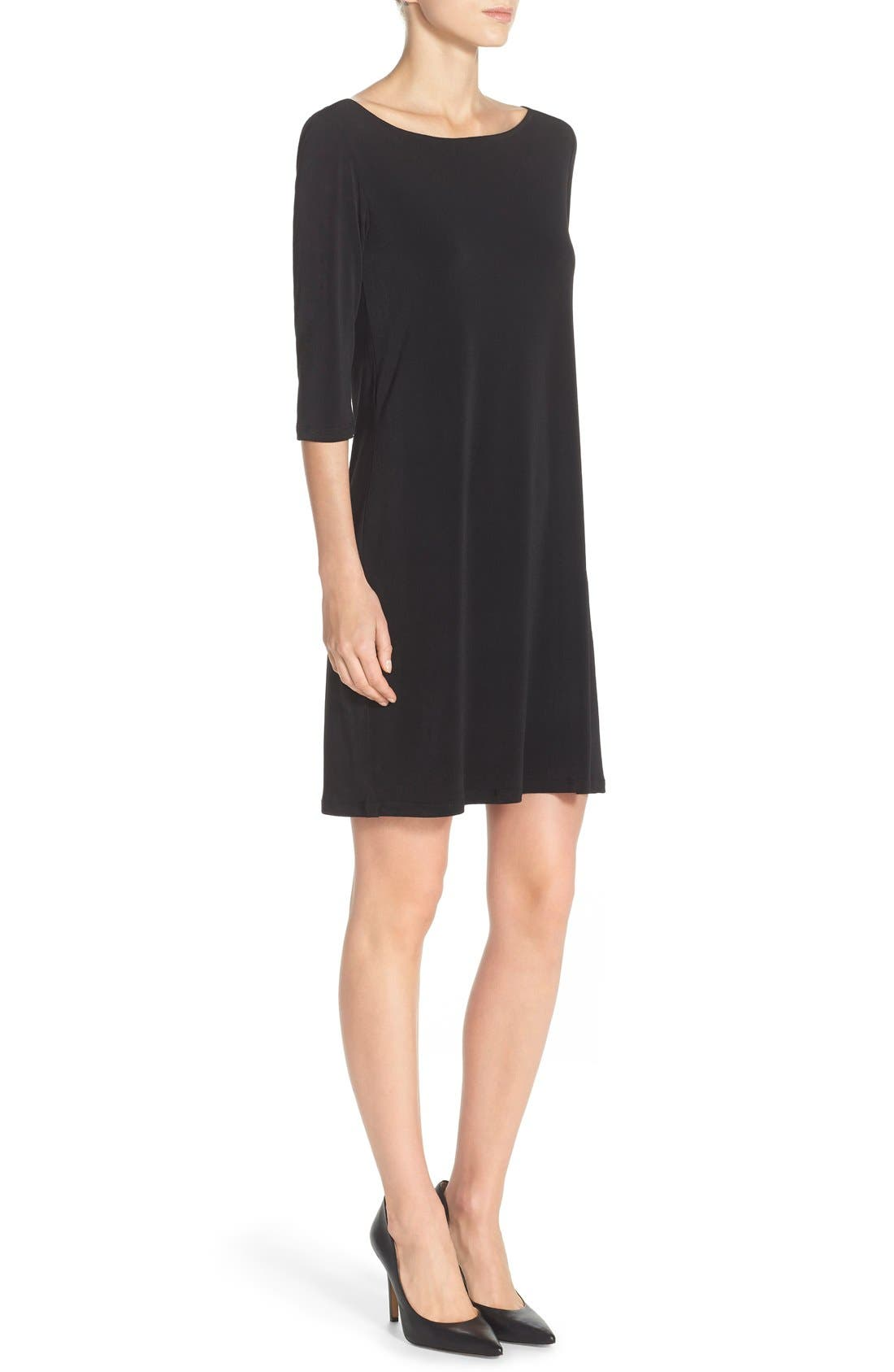 Dolman Sleeve Jersey Sheath Dress,                             Alternate thumbnail 4, color,                             BLACK