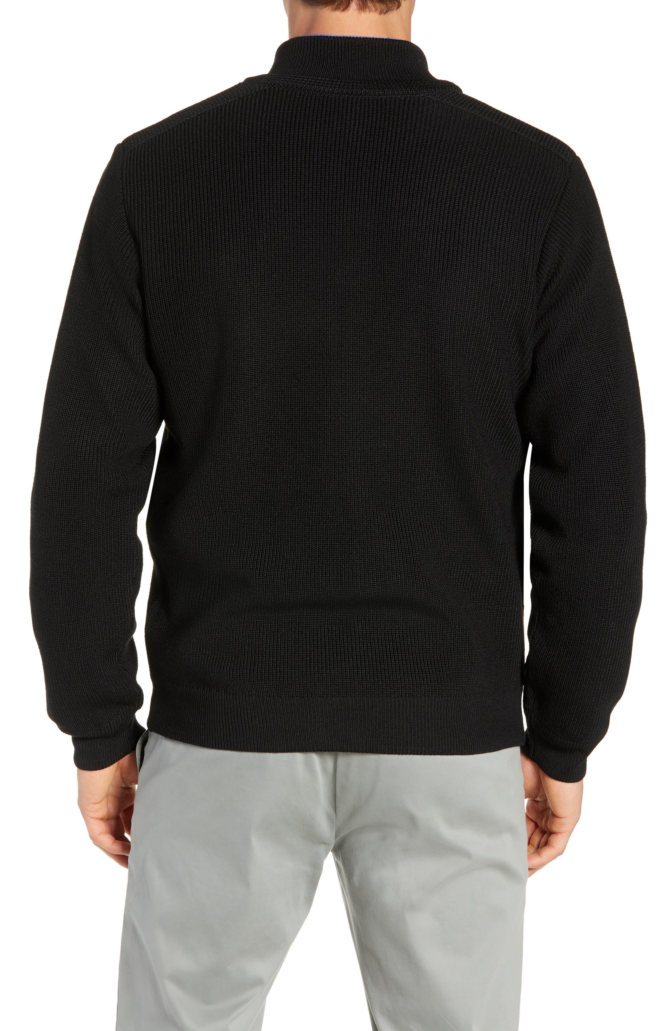 Water Resistant Merino Wool Blend Sweater,                             Alternate thumbnail 2, color,                             BLACK