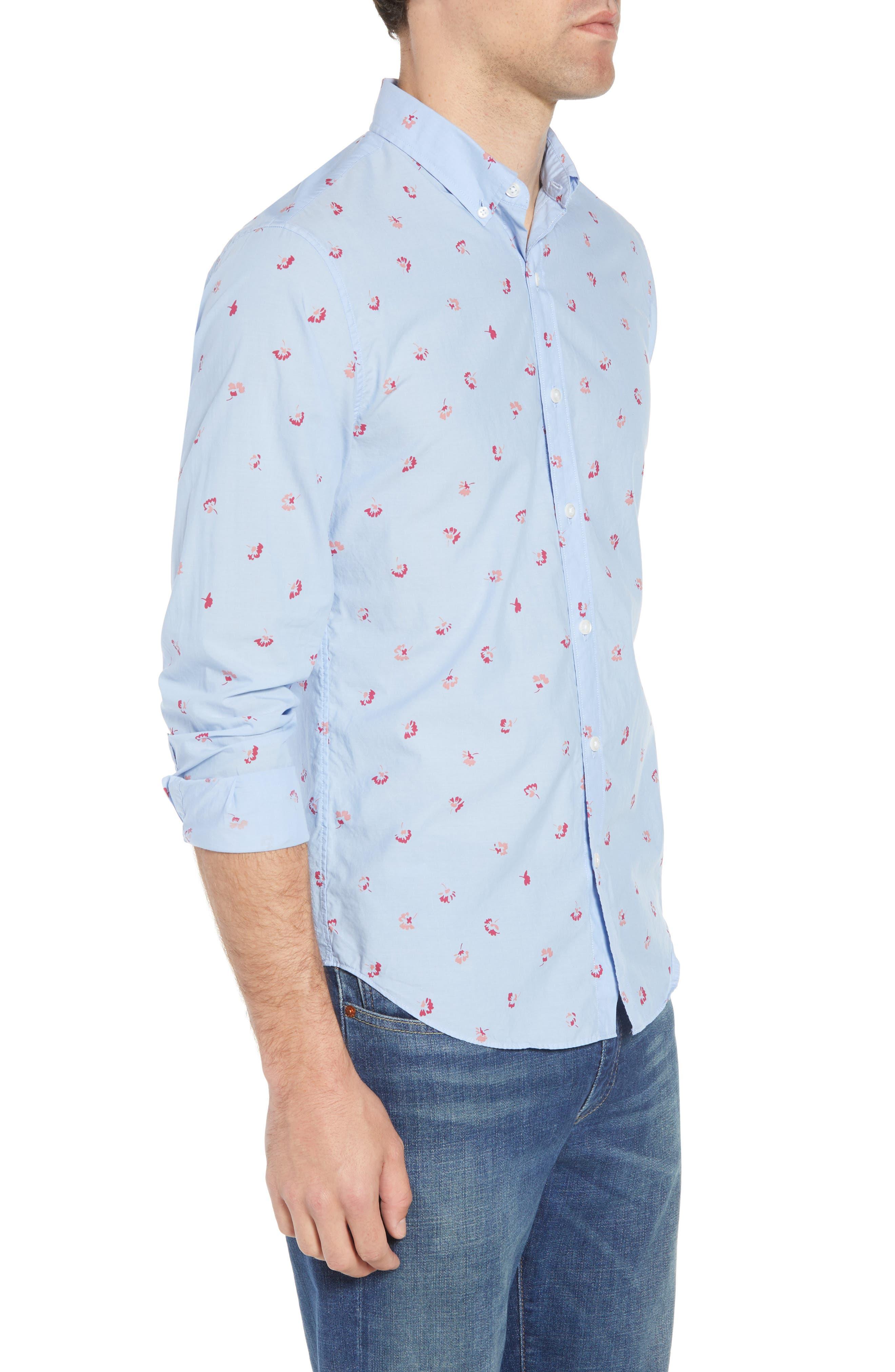 Slim Fit Floral Sport Shirt,                             Alternate thumbnail 3, color,