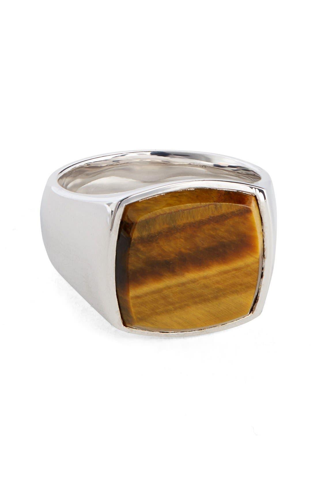 'Patriot Collection' Cushion Tiger's Eye Signet Ring,                             Main thumbnail 1, color,                             040