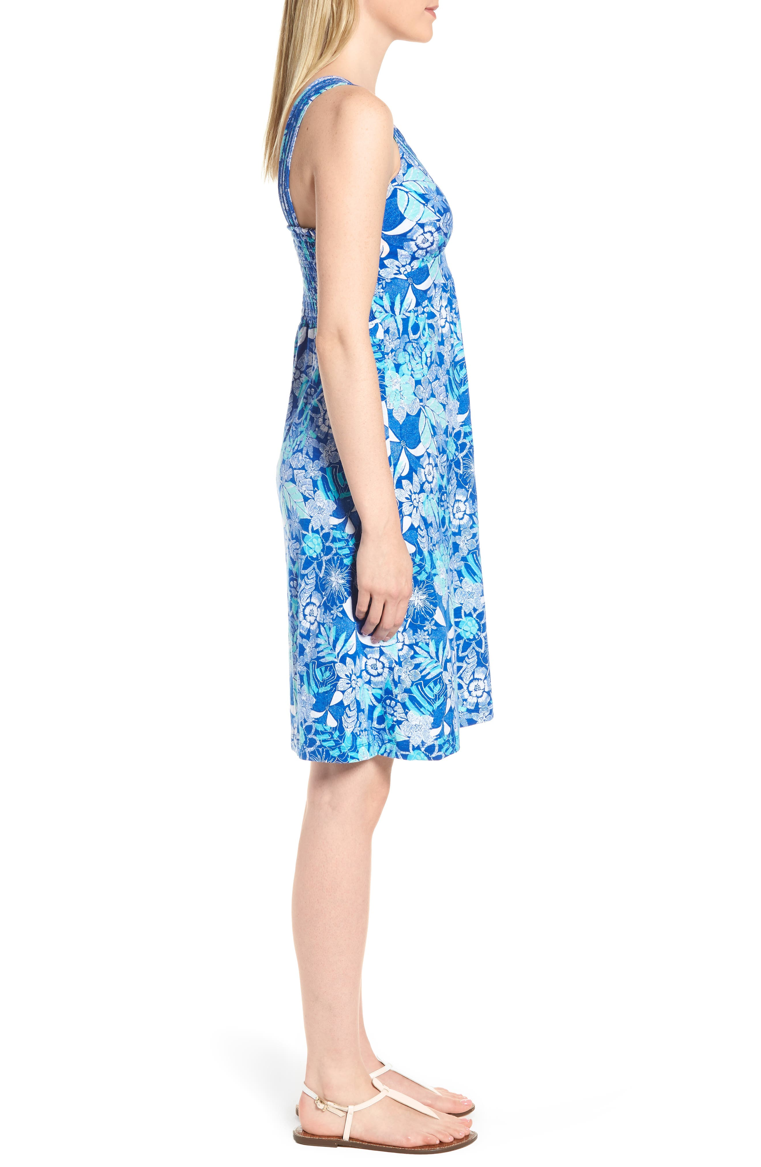 Boardwalk Blooms A-Line Dress,                             Alternate thumbnail 3, color,                             COBALT