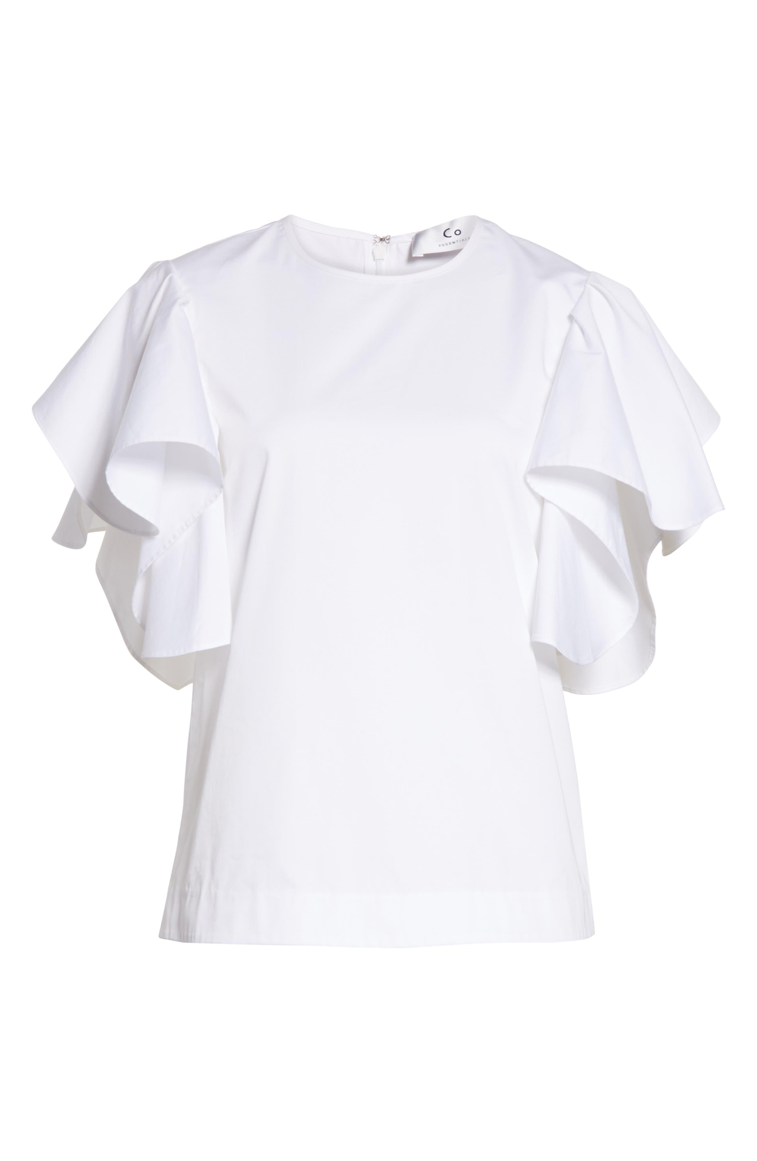 Ruffle Sleeve Cotton Poplin Top,                             Alternate thumbnail 6, color,                             100