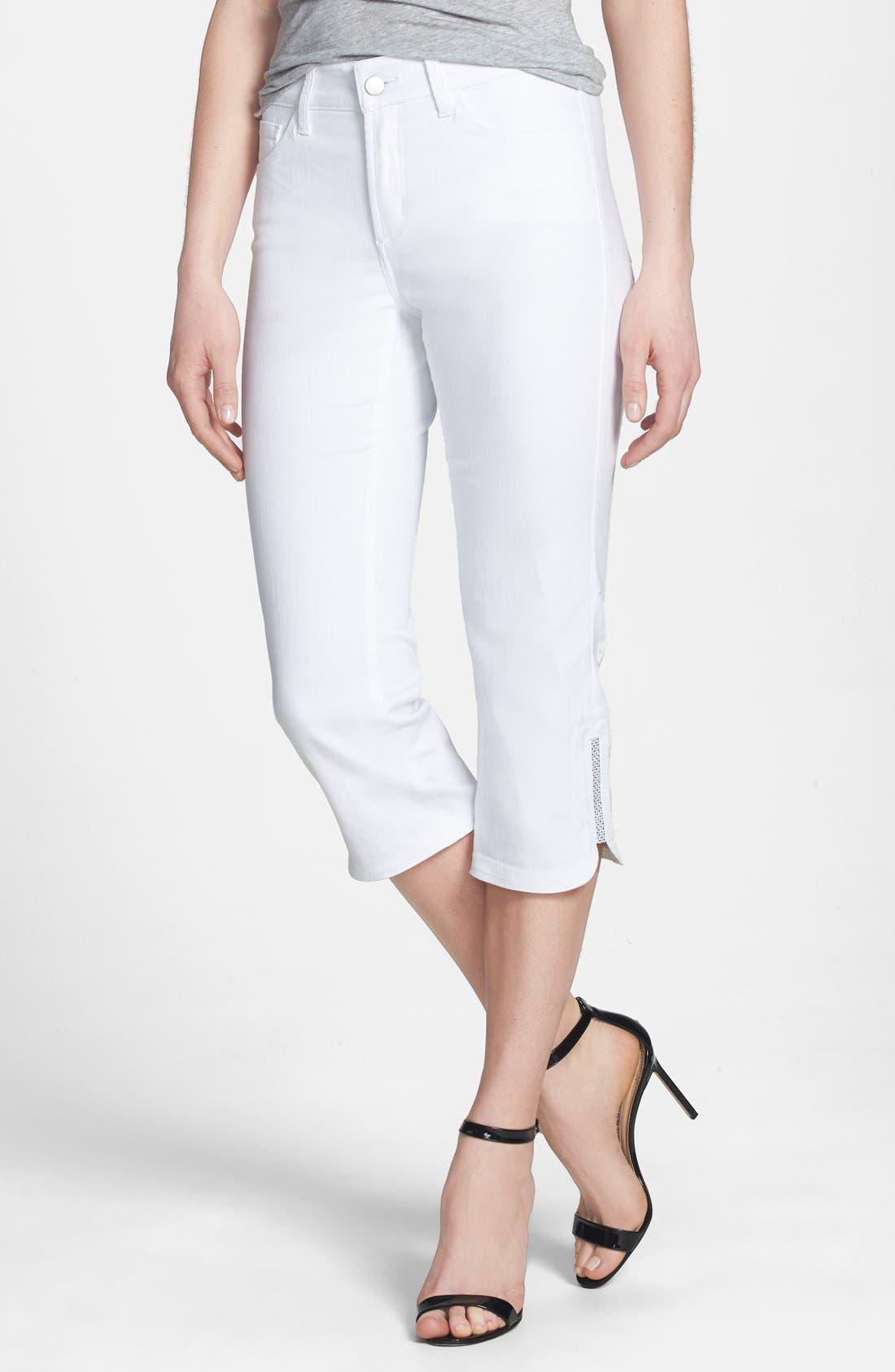 'Devin' Embellished Hem Stretch Crop Jeans,                             Main thumbnail 1, color,                             103