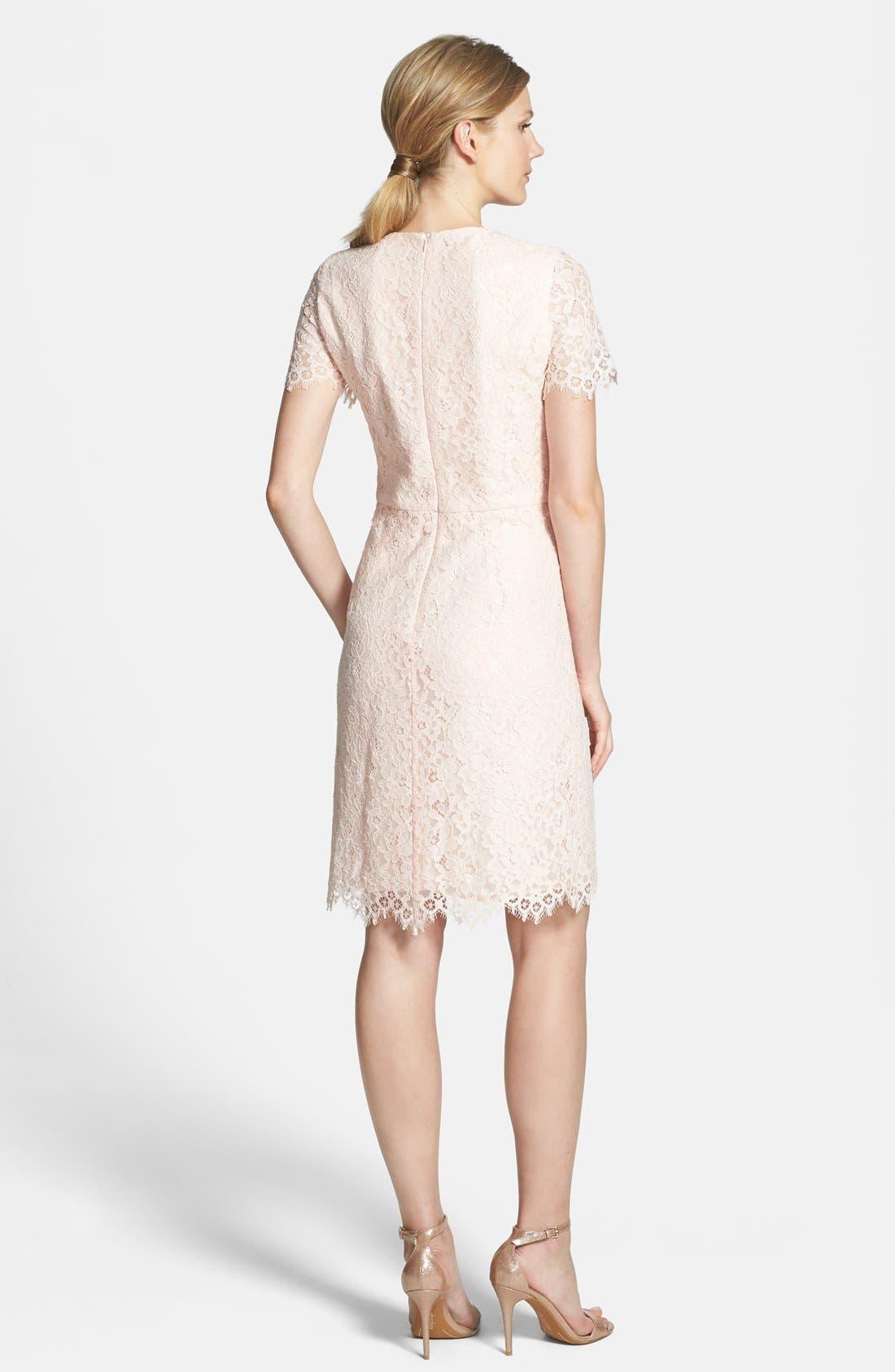 'Valeria' Lace Sheath Dress,                             Alternate thumbnail 4, color,                             650