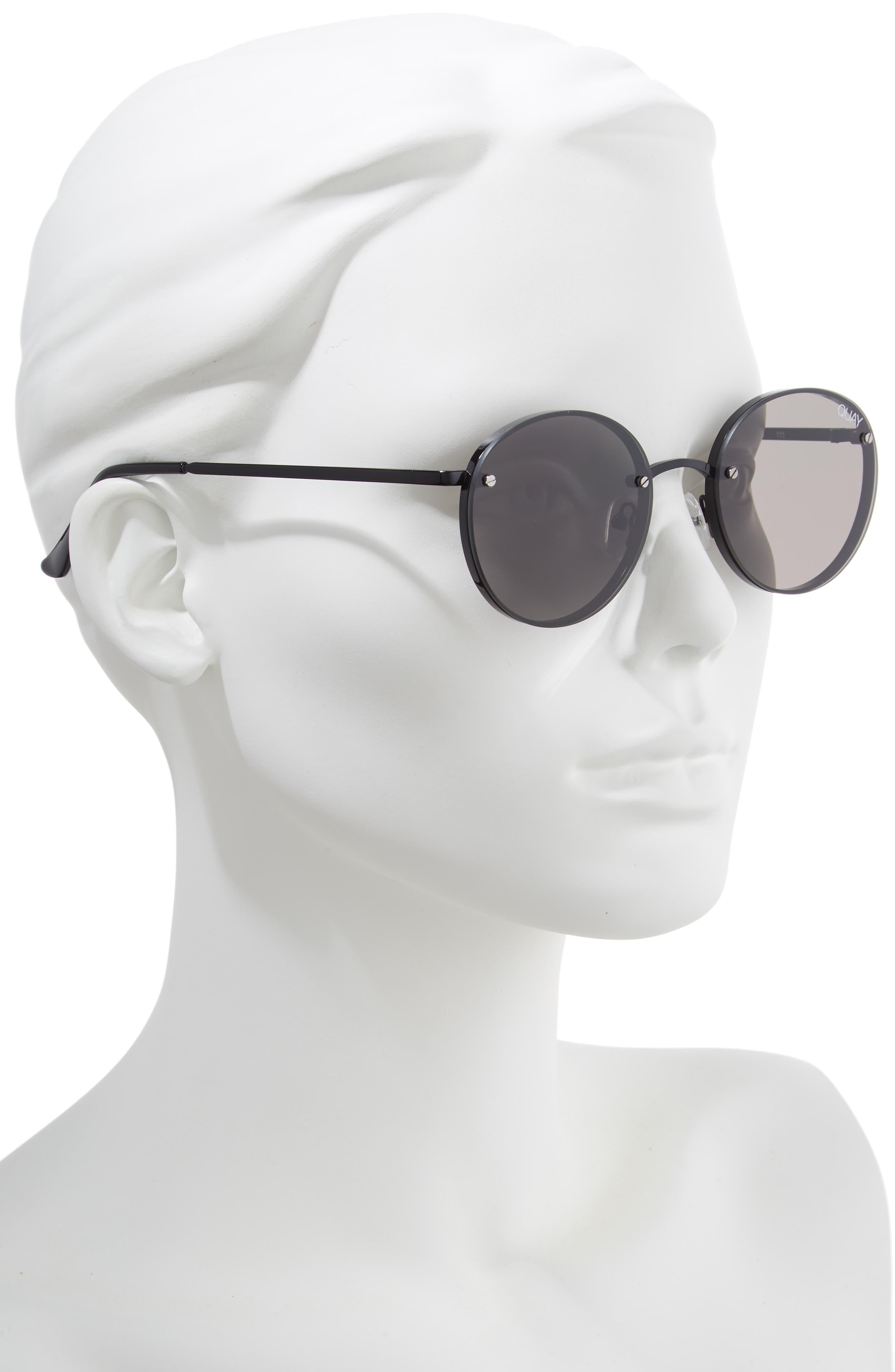 x Elle Ferguson Farrah 53mm Round Sunglasses,                             Alternate thumbnail 2, color,                             BLACK/ SMOKE