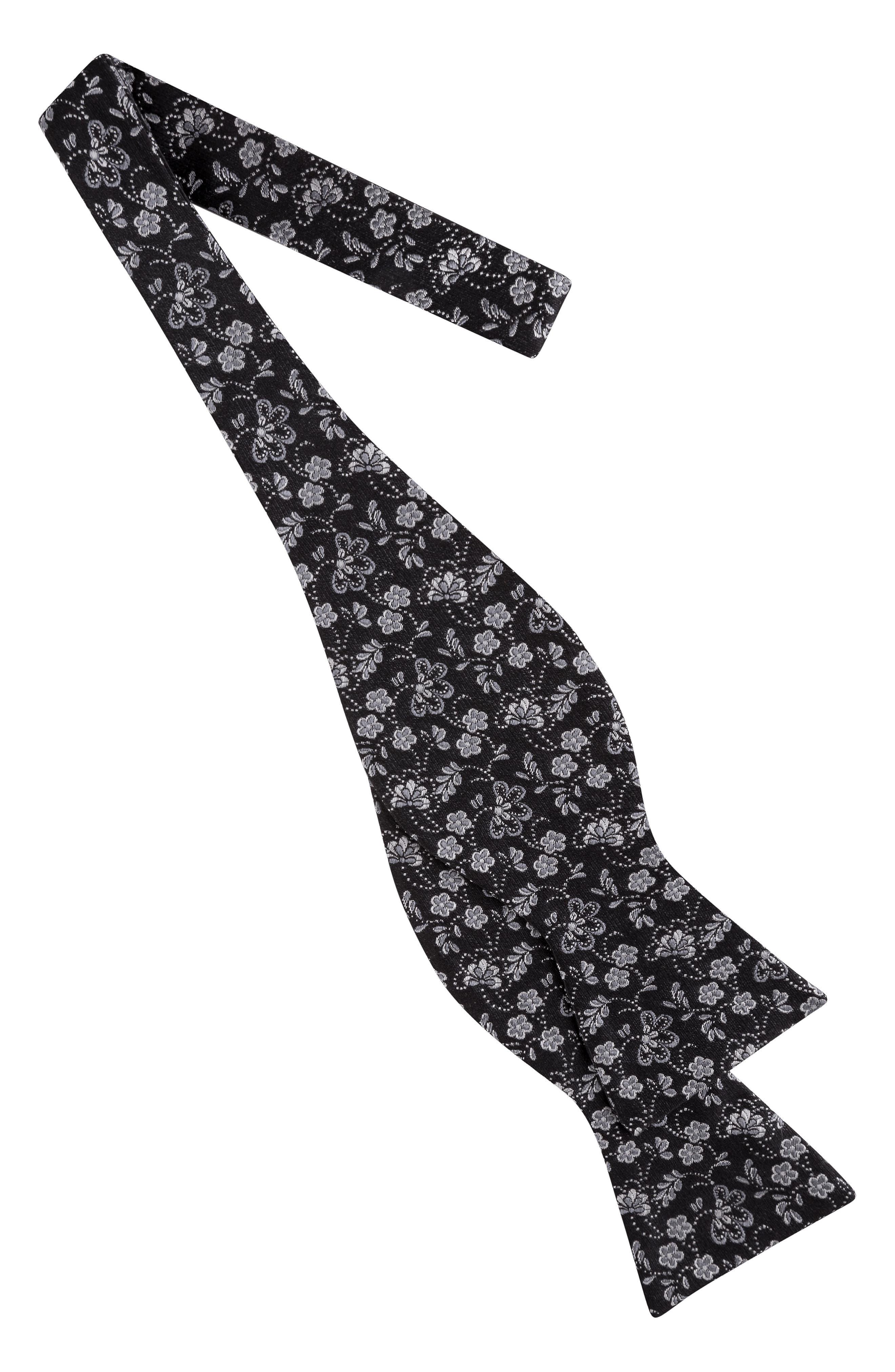 Floral Silk Bow Tie,                             Alternate thumbnail 2, color,                             BLACK