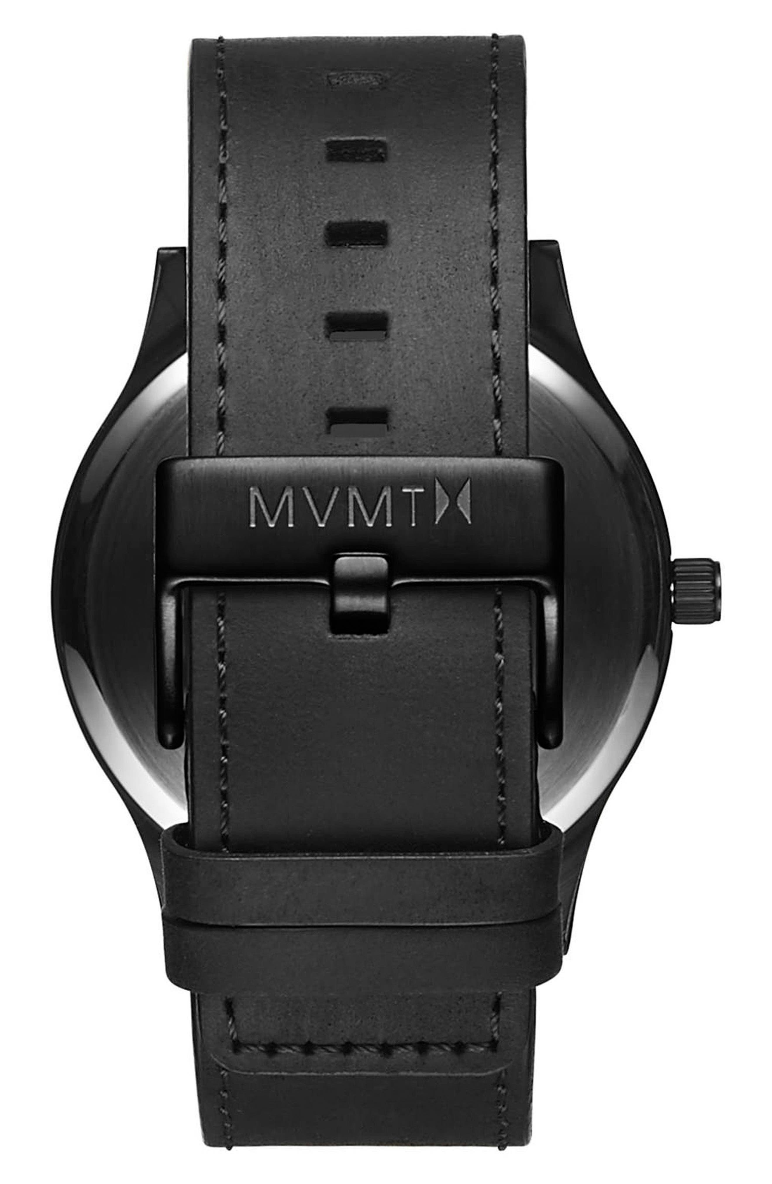The Classic Leather Strap Watch, 45mm,                             Alternate thumbnail 2, color,                             ALL BLACK/ ROSE GOLD