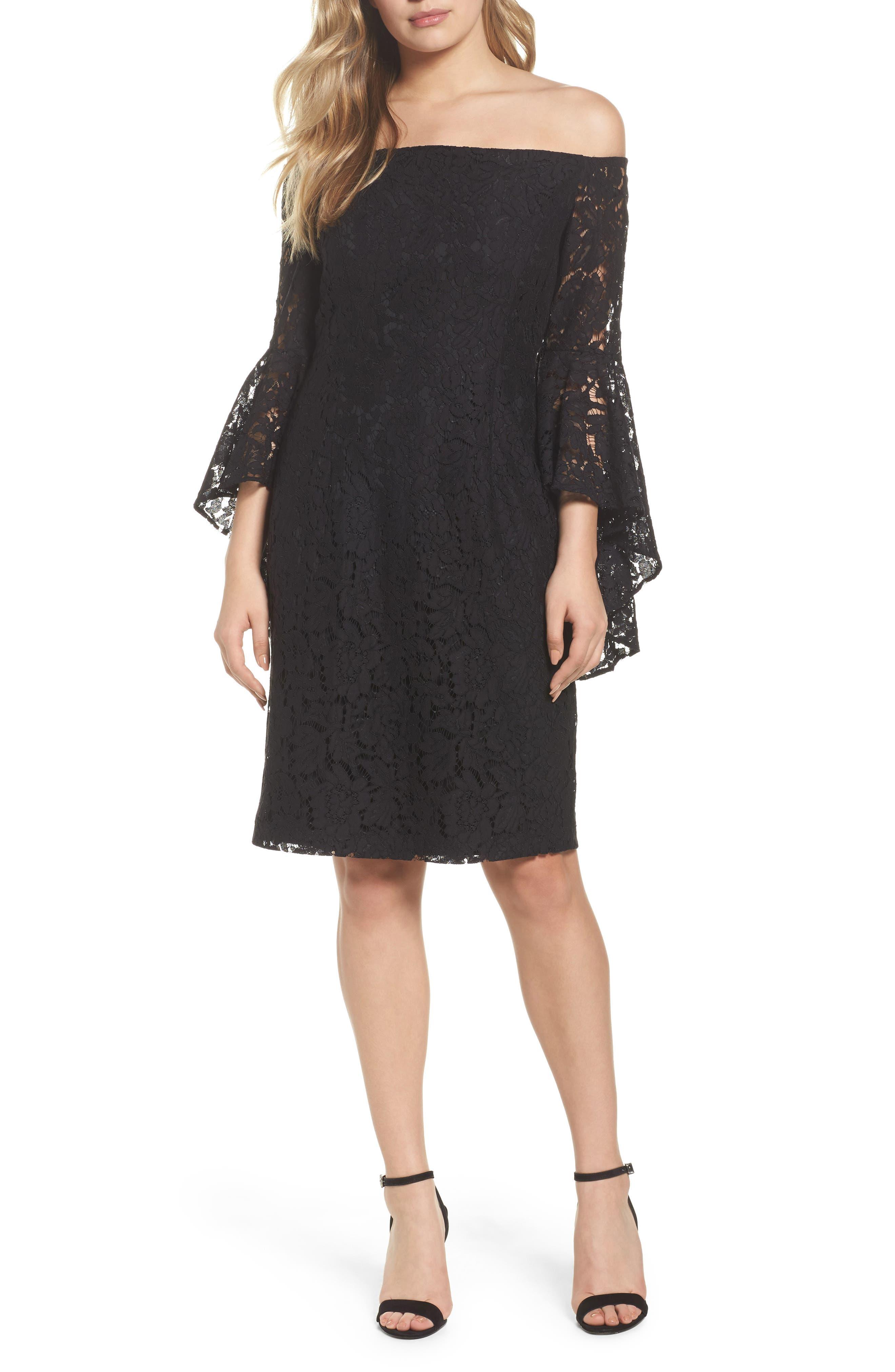 Off the Shoulder Lace Dress,                             Main thumbnail 1, color,                             001