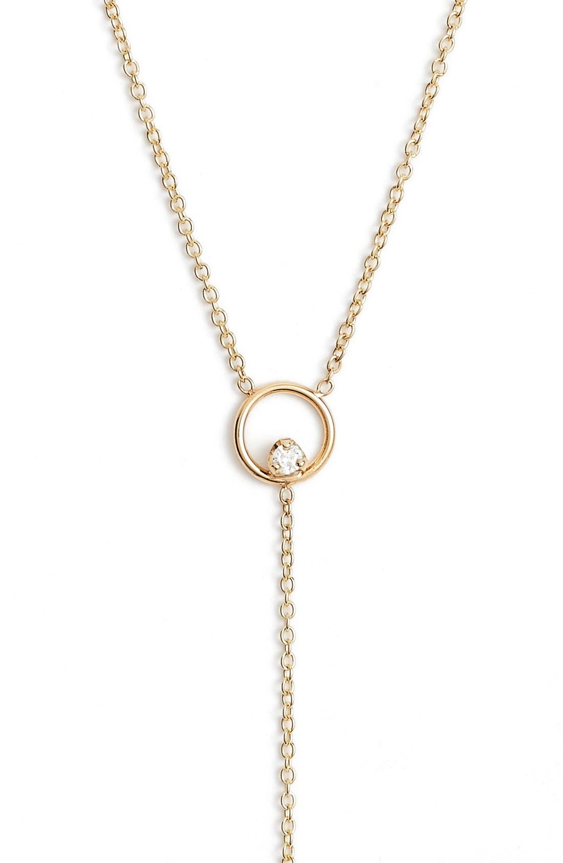 Diamond Circle Y-Necklace,                         Main,                         color, YELLOW GOLD